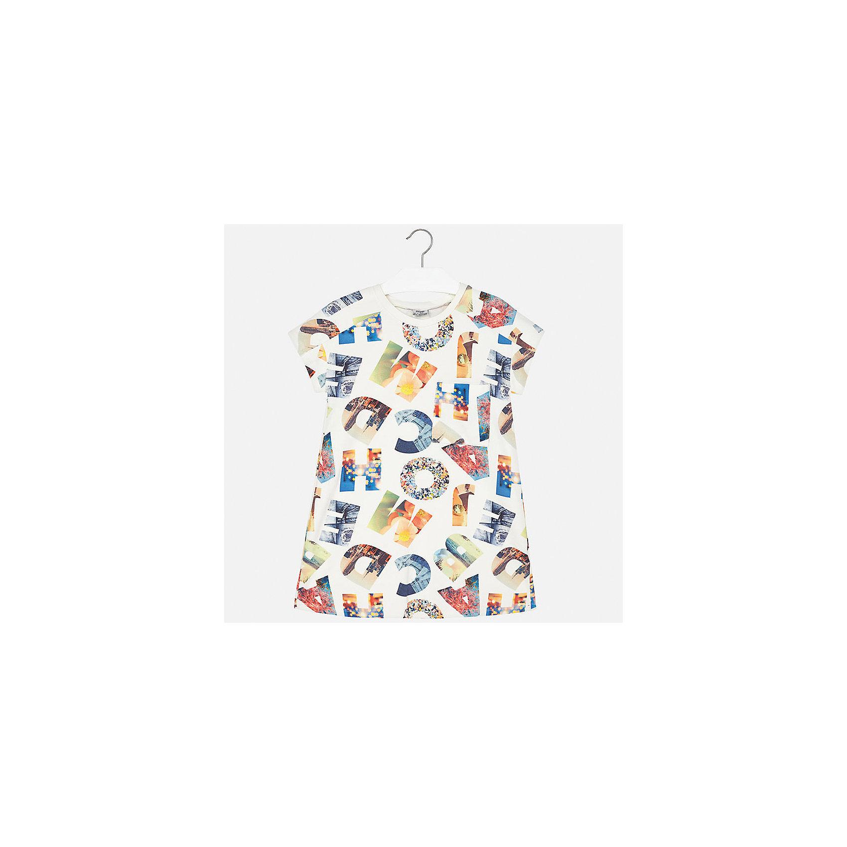 Платье для девочки MayoralХарактеристики товара:<br><br>• цвет: белый принт<br>• состав: 30% полиэстер, 65% вискоза, 5% эластан<br>• без застежки<br>• свободная посадка<br>• принт<br>• короткие рукава<br>• страна бренда: Испания<br><br>Стильное платье для девочки поможет разнообразить гардероб ребенка и создать эффектный наряд. Оно подойдет для различных случаев. Универсальный цвет позволяет подобрать к вещи обувь разных расцветок. Платье хорошо сидит по фигуре.<br><br>Одежда, обувь и аксессуары от испанского бренда Mayoral полюбились детям и взрослым по всему миру. Модели этой марки - стильные и удобные. Для их производства используются только безопасные, качественные материалы и фурнитура. Порадуйте ребенка модными и красивыми вещами от Mayoral! <br><br>Платье для девочки от испанского бренда Mayoral (Майорал) можно купить в нашем интернет-магазине.<br><br>Ширина мм: 236<br>Глубина мм: 16<br>Высота мм: 184<br>Вес г: 177<br>Цвет: розовый<br>Возраст от месяцев: 168<br>Возраст до месяцев: 180<br>Пол: Женский<br>Возраст: Детский<br>Размер: 170,128/134,140,152,158,164<br>SKU: 5293327