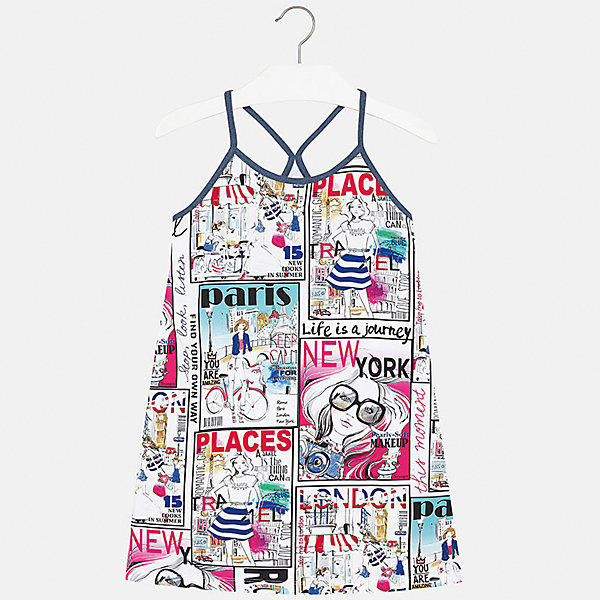 Платье для девочки MayoralЛетние платья и сарафаны<br>Характеристики товара:<br><br>• цвет: белый принт<br>• состав: 95% хлопок, 5% эластан<br>• без застежки<br>• бретельки<br>• без рукавов<br>• принт<br>• страна бренда: Испания<br><br>Стильное платье для девочки поможет разнообразить гардероб ребенка и создать эффектный наряд. Оно подойдет для различных случаев. Красивый оттенок позволяет подобрать к вещи обувь разных расцветок. Платье хорошо сидит по фигуре. В составе материала - натуральный хлопок, гипоаллергенный, приятный на ощупь, дышащий. <br><br>Одежда, обувь и аксессуары от испанского бренда Mayoral полюбились детям и взрослым по всему миру. Модели этой марки - стильные и удобные. Для их производства используются только безопасные, качественные материалы и фурнитура. Порадуйте ребенка модными и красивыми вещами от Mayoral! <br><br>Платье для девочки от испанского бренда Mayoral (Майорал) можно купить в нашем интернет-магазине.<br><br>Ширина мм: 236<br>Глубина мм: 16<br>Высота мм: 184<br>Вес г: 177<br>Цвет: белый<br>Возраст от месяцев: 132<br>Возраст до месяцев: 144<br>Пол: Женский<br>Возраст: Детский<br>Размер: 152,170,164,158,140,128/134<br>SKU: 5293341