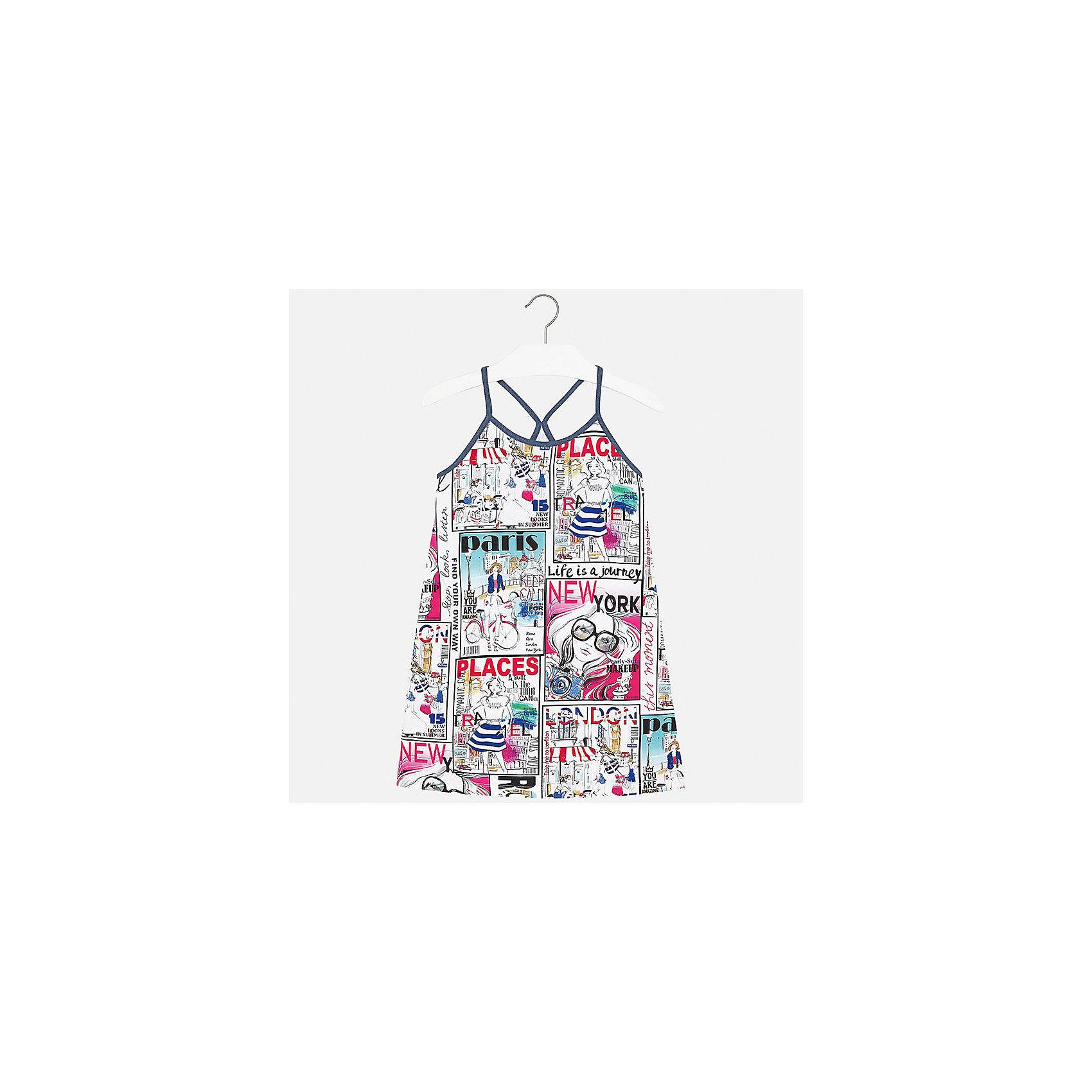 Платье для девочки MayoralХарактеристики товара:<br><br>• цвет: белый принт<br>• состав: 95% хлопок, 5% эластан<br>• без застежки<br>• бретельки<br>• без рукавов<br>• принт<br>• страна бренда: Испания<br><br>Стильное платье для девочки поможет разнообразить гардероб ребенка и создать эффектный наряд. Оно подойдет для различных случаев. Красивый оттенок позволяет подобрать к вещи обувь разных расцветок. Платье хорошо сидит по фигуре. В составе материала - натуральный хлопок, гипоаллергенный, приятный на ощупь, дышащий. <br><br>Одежда, обувь и аксессуары от испанского бренда Mayoral полюбились детям и взрослым по всему миру. Модели этой марки - стильные и удобные. Для их производства используются только безопасные, качественные материалы и фурнитура. Порадуйте ребенка модными и красивыми вещами от Mayoral! <br><br>Платье для девочки от испанского бренда Mayoral (Майорал) можно купить в нашем интернет-магазине.<br><br>Ширина мм: 236<br>Глубина мм: 16<br>Высота мм: 184<br>Вес г: 177<br>Цвет: разноцветный<br>Возраст от месяцев: 84<br>Возраст до месяцев: 96<br>Пол: Женский<br>Возраст: Детский<br>Размер: 128/134,170,140,152,158,164<br>SKU: 5293341
