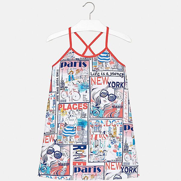 Платье для девочки MayoralЛетние платья и сарафаны<br>Характеристики товара:<br><br>• цвет: мультиколор<br>• состав: 95% хлопок, 5% эластан<br>• без застежки<br>• бретельки<br>• без рукавов<br>• принт<br>• страна бренда: Испания<br><br>Стильное платье для девочки поможет разнообразить гардероб ребенка и создать эффектный наряд. Оно подойдет для различных случаев. Красивый оттенок позволяет подобрать к вещи обувь разных расцветок. Платье хорошо сидит по фигуре. В составе материала - натуральный хлопок, гипоаллергенный, приятный на ощупь, дышащий. <br><br>Одежда, обувь и аксессуары от испанского бренда Mayoral полюбились детям и взрослым по всему миру. Модели этой марки - стильные и удобные. Для их производства используются только безопасные, качественные материалы и фурнитура. Порадуйте ребенка модными и красивыми вещами от Mayoral! <br><br>Платье для девочки от испанского бренда Mayoral (Майорал) можно купить в нашем интернет-магазине.<br><br>Ширина мм: 236<br>Глубина мм: 16<br>Высота мм: 184<br>Вес г: 177<br>Цвет: красный<br>Возраст от месяцев: 144<br>Возраст до месяцев: 156<br>Пол: Женский<br>Возраст: Детский<br>Размер: 158,170,128/134,140,152,164<br>SKU: 5293348