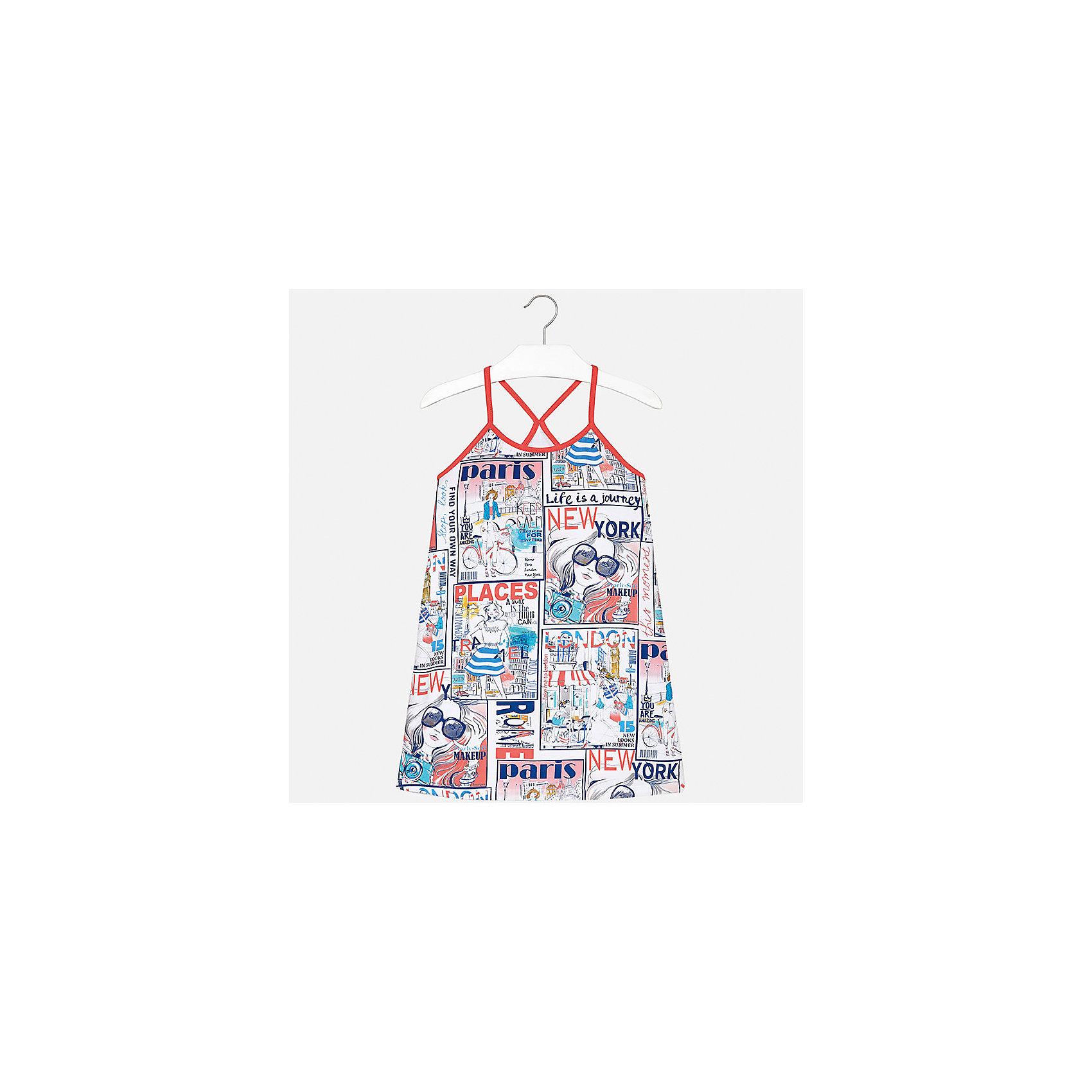 Платье для девочки MayoralХарактеристики товара:<br><br>• цвет: мультиколор<br>• состав: 95% хлопок, 5% эластан<br>• без застежки<br>• бретельки<br>• без рукавов<br>• принт<br>• страна бренда: Испания<br><br>Стильное платье для девочки поможет разнообразить гардероб ребенка и создать эффектный наряд. Оно подойдет для различных случаев. Красивый оттенок позволяет подобрать к вещи обувь разных расцветок. Платье хорошо сидит по фигуре. В составе материала - натуральный хлопок, гипоаллергенный, приятный на ощупь, дышащий. <br><br>Одежда, обувь и аксессуары от испанского бренда Mayoral полюбились детям и взрослым по всему миру. Модели этой марки - стильные и удобные. Для их производства используются только безопасные, качественные материалы и фурнитура. Порадуйте ребенка модными и красивыми вещами от Mayoral! <br><br>Платье для девочки от испанского бренда Mayoral (Майорал) можно купить в нашем интернет-магазине.<br><br>Ширина мм: 236<br>Глубина мм: 16<br>Высота мм: 184<br>Вес г: 177<br>Цвет: красный<br>Возраст от месяцев: 84<br>Возраст до месяцев: 96<br>Пол: Женский<br>Возраст: Детский<br>Размер: 128/134,140,152,158,164,170<br>SKU: 5293348