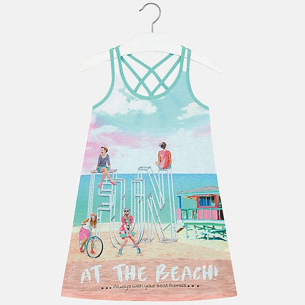 Платье для девочки MayoralЛетние платья и сарафаны<br>Характеристики товара:<br><br>• цвет: голубой<br>• состав: 100% полиэстер<br>• без застежки<br>• бретельки перекрещены на спине<br>• без рукавов<br>• принт<br>• страна бренда: Испания<br><br>Модное платье для девочки поможет разнообразить гардероб ребенка и создать эффектный наряд. Оно подойдет для различных случаев. Красивый оттенок позволяет подобрать к вещи обувь разных расцветок. Платье хорошо сидит по фигуре. <br><br>Одежда, обувь и аксессуары от испанского бренда Mayoral полюбились детям и взрослым по всему миру. Модели этой марки - стильные и удобные. Для их производства используются только безопасные, качественные материалы и фурнитура. Порадуйте ребенка модными и красивыми вещами от Mayoral! <br><br>Платье для девочки от испанского бренда Mayoral (Майорал) можно купить в нашем интернет-магазине.<br><br>Ширина мм: 236<br>Глубина мм: 16<br>Высота мм: 184<br>Вес г: 177<br>Цвет: голубой<br>Возраст от месяцев: 144<br>Возраст до месяцев: 156<br>Пол: Женский<br>Возраст: Детский<br>Размер: 158,128/134,170,164,152,140<br>SKU: 5293355