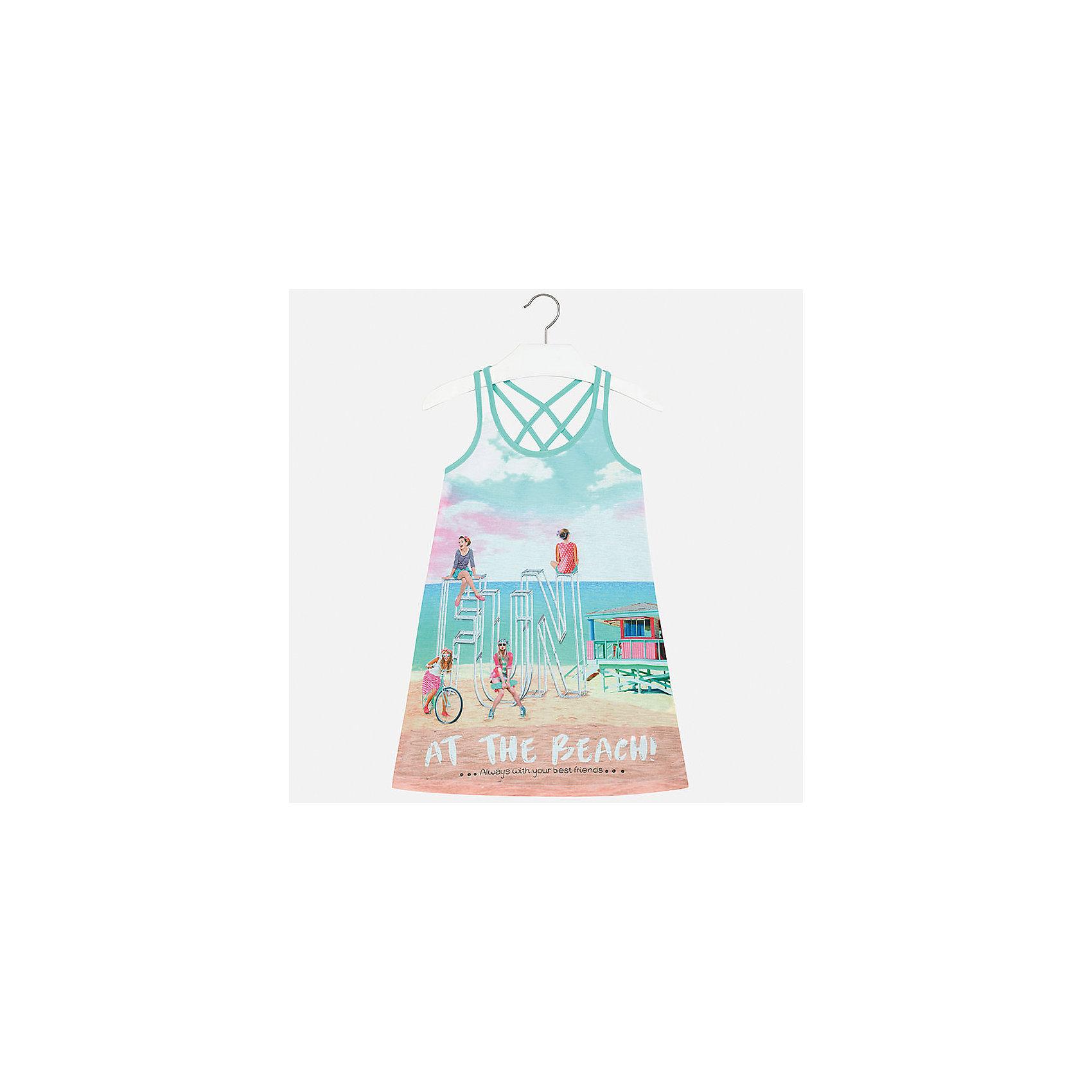 Платье для девочки MayoralЛетние платья и сарафаны<br>Характеристики товара:<br><br>• цвет: голубой<br>• состав: 100% полиэстер<br>• без застежки<br>• бретельки перекрещены на спине<br>• без рукавов<br>• принт<br>• страна бренда: Испания<br><br>Модное платье для девочки поможет разнообразить гардероб ребенка и создать эффектный наряд. Оно подойдет для различных случаев. Красивый оттенок позволяет подобрать к вещи обувь разных расцветок. Платье хорошо сидит по фигуре. <br><br>Одежда, обувь и аксессуары от испанского бренда Mayoral полюбились детям и взрослым по всему миру. Модели этой марки - стильные и удобные. Для их производства используются только безопасные, качественные материалы и фурнитура. Порадуйте ребенка модными и красивыми вещами от Mayoral! <br><br>Платье для девочки от испанского бренда Mayoral (Майорал) можно купить в нашем интернет-магазине.<br><br>Ширина мм: 236<br>Глубина мм: 16<br>Высота мм: 184<br>Вес г: 177<br>Цвет: голубой<br>Возраст от месяцев: 108<br>Возраст до месяцев: 120<br>Пол: Женский<br>Возраст: Детский<br>Размер: 140,170,128/134,152,158,164<br>SKU: 5293355