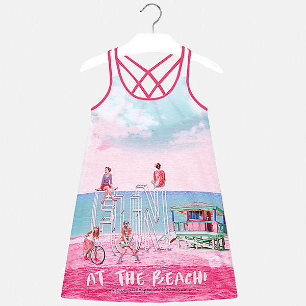 Платье для девочки MayoralПлатья и сарафаны<br>Характеристики товара:<br><br>• цвет: розовый/голубой<br>• состав: 100% полиэстер<br>• без застежки<br>• бретельки перекрещены на спине<br>• без рукавов<br>• принт<br>• страна бренда: Испания<br><br>Модное платье для девочки поможет разнообразить гардероб ребенка и создать эффектный наряд. Оно подойдет для различных случаев. Красивый оттенок позволяет подобрать к вещи обувь разных расцветок. Платье хорошо сидит по фигуре. <br><br>Одежда, обувь и аксессуары от испанского бренда Mayoral полюбились детям и взрослым по всему миру. Модели этой марки - стильные и удобные. Для их производства используются только безопасные, качественные материалы и фурнитура. Порадуйте ребенка модными и красивыми вещами от Mayoral! <br><br>Платье для девочки от испанского бренда Mayoral (Майорал) можно купить в нашем интернет-магазине.<br>Ширина мм: 236; Глубина мм: 16; Высота мм: 184; Вес г: 177; Цвет: лиловый; Возраст от месяцев: 156; Возраст до месяцев: 168; Пол: Женский; Возраст: Детский; Размер: 164,152,170,158,140,128/134; SKU: 5293362;