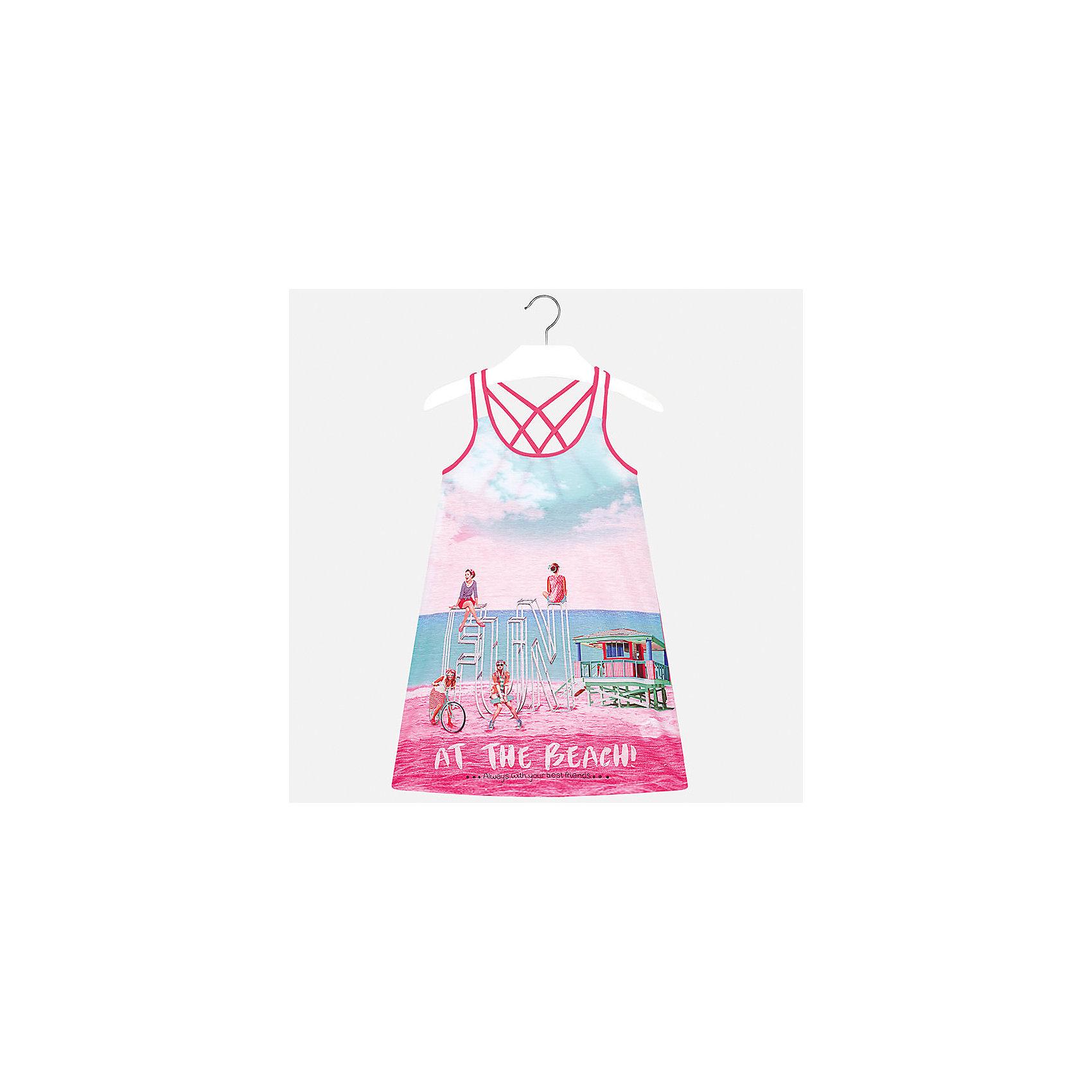 Платье для девочки MayoralПлатья и сарафаны<br>Характеристики товара:<br><br>• цвет: розовый/голубой<br>• состав: 100% полиэстер<br>• без застежки<br>• бретельки перекрещены на спине<br>• без рукавов<br>• принт<br>• страна бренда: Испания<br><br>Модное платье для девочки поможет разнообразить гардероб ребенка и создать эффектный наряд. Оно подойдет для различных случаев. Красивый оттенок позволяет подобрать к вещи обувь разных расцветок. Платье хорошо сидит по фигуре. <br><br>Одежда, обувь и аксессуары от испанского бренда Mayoral полюбились детям и взрослым по всему миру. Модели этой марки - стильные и удобные. Для их производства используются только безопасные, качественные материалы и фурнитура. Порадуйте ребенка модными и красивыми вещами от Mayoral! <br><br>Платье для девочки от испанского бренда Mayoral (Майорал) можно купить в нашем интернет-магазине.<br><br>Ширина мм: 236<br>Глубина мм: 16<br>Высота мм: 184<br>Вес г: 177<br>Цвет: фиолетовый<br>Возраст от месяцев: 168<br>Возраст до месяцев: 180<br>Пол: Женский<br>Возраст: Детский<br>Размер: 170,152,128/134,140,158,164<br>SKU: 5293362