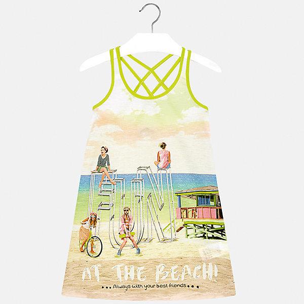 Платье для девочки MayoralПлатья и сарафаны<br>Характеристики товара:<br><br>• цвет: желтый/зеленый<br>• состав: 100% полиэстер<br>• без застежки<br>• бретельки перекрещены на спине<br>• без рукавов<br>• принт<br>• страна бренда: Испания<br><br>Модное платье для девочки поможет разнообразить гардероб ребенка и создать эффектный наряд. Оно подойдет для различных случаев. Красивый оттенок позволяет подобрать к вещи обувь разных расцветок. Платье хорошо сидит по фигуре. <br><br>Одежда, обувь и аксессуары от испанского бренда Mayoral полюбились детям и взрослым по всему миру. Модели этой марки - стильные и удобные. Для их производства используются только безопасные, качественные материалы и фурнитура. Порадуйте ребенка модными и красивыми вещами от Mayoral! <br><br>Платье для девочки от испанского бренда Mayoral (Майорал) можно купить в нашем интернет-магазине.<br>Ширина мм: 236; Глубина мм: 16; Высота мм: 184; Вес г: 177; Цвет: зеленый; Возраст от месяцев: 108; Возраст до месяцев: 120; Пол: Женский; Возраст: Детский; Размер: 140,128/134,170,164,158,152; SKU: 5293369;