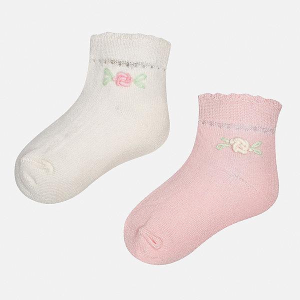 Носки (2 пары) для девочки MayoralНоски<br>Характеристики товара:<br><br>• цвет: белый/розовый<br>• состав: 74% хлопок, 23% полиамид, 3% эластан<br>• комплектация: две пары<br>• мягкая ажурная резинка<br>• эластичный материал<br>• декорированы объемными цветами<br>• страна бренда: Испания<br><br>Удобные симпатичные носки для девочки помогут обеспечить ребенку комфорт и дополнить наряд. Универсальный цвет позволяет надевать их под обувь разных расцветок. Носки удобно сидят на ноге и красиво смотрятся. В составе материала - натуральный хлопок, гипоаллергенный, приятный на ощупь, дышащий. <br><br>Одежда, обувь и аксессуары от испанского бренда Mayoral полюбились детям и взрослым по всему миру. Модели этой марки - стильные и удобные. Для их производства используются только безопасные, качественные материалы и фурнитура. Порадуйте ребенка модными и красивыми вещами от Mayoral! <br><br>Носки (2 пары) для девочки от испанского бренда Mayoral (Майорал) можно купить в нашем интернет-магазине.<br><br>Ширина мм: 87<br>Глубина мм: 10<br>Высота мм: 105<br>Вес г: 115<br>Цвет: розовый/белый<br>Возраст от месяцев: 12<br>Возраст до месяцев: 18<br>Пол: Женский<br>Возраст: Детский<br>Размер: 12,24<br>SKU: 5293376