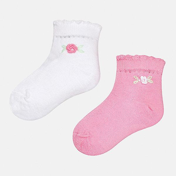 Носки (2 пары) для девочки MayoralНосочки и колготки<br>Характеристики товара:<br><br>• цвет: белый/розовый<br>• состав: 74% хлопок, 23% полиамид, 3% эластан<br>• комплектация: две пары<br>• мягкая ажурная резинка<br>• эластичный материал<br>• декорированы объемными цветами<br>• страна бренда: Испания<br><br>Удобные симпатичные носки для девочки помогут обеспечить ребенку комфорт и дополнить наряд. Универсальный цвет позволяет надевать их под обувь разных расцветок. Носки удобно сидят на ноге и красиво смотрятся. В составе материала - натуральный хлопок, гипоаллергенный, приятный на ощупь, дышащий. <br><br>Одежда, обувь и аксессуары от испанского бренда Mayoral полюбились детям и взрослым по всему миру. Модели этой марки - стильные и удобные. Для их производства используются только безопасные, качественные материалы и фурнитура. Порадуйте ребенка модными и красивыми вещами от Mayoral! <br><br>Носки (2 пары) для девочки от испанского бренда Mayoral (Майорал) можно купить в нашем интернет-магазине.<br><br>Ширина мм: 87<br>Глубина мм: 10<br>Высота мм: 105<br>Вес г: 115<br>Цвет: розовый/белый<br>Возраст от месяцев: 12<br>Возраст до месяцев: 18<br>Пол: Женский<br>Возраст: Детский<br>Размер: 12,24<br>SKU: 5293379