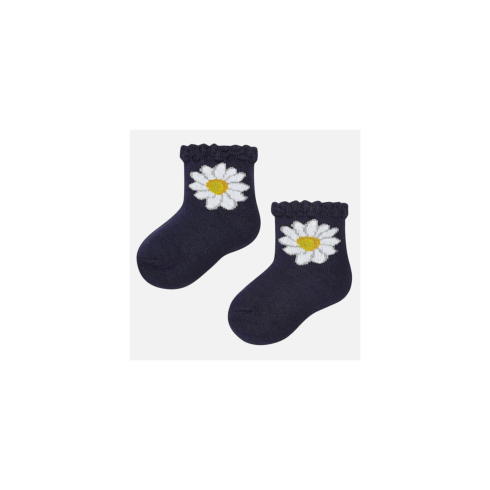 Носки для девочки MayoralХарактеристики товара:<br><br>• цвет: темно-синий<br>• состав: 68% хлопок, 28% полиамид, 4% эластан<br>• комплектация: одна пара<br>• мягкая ажурная резинка<br>• эластичный материал<br>• декорированы цветами<br>• страна бренда: Испания<br><br>Удобные симпатичные носки для девочки помогут обеспечить ребенку комфорт и дополнить наряд. Универсальный цвет позволяет надевать их под обувь разных расцветок. Носки удобно сидят на ноге и красиво смотрятся. В составе материала - натуральный хлопок, гипоаллергенный, приятный на ощупь, дышащий. <br><br>Одежда, обувь и аксессуары от испанского бренда Mayoral полюбились детям и взрослым по всему миру. Модели этой марки - стильные и удобные. Для их производства используются только безопасные, качественные материалы и фурнитура. Порадуйте ребенка модными и красивыми вещами от Mayoral! <br><br>Носки для девочки от испанского бренда Mayoral (Майорал) можно купить в нашем интернет-магазине.<br><br>Ширина мм: 87<br>Глубина мм: 10<br>Высота мм: 105<br>Вес г: 115<br>Цвет: синий<br>Возраст от месяцев: 21<br>Возраст до месяцев: 24<br>Пол: Женский<br>Возраст: Детский<br>Размер: 24,12<br>SKU: 5293382