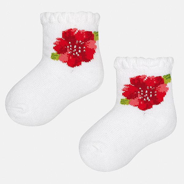 Носки для девочки MayoralНоски<br>Характеристики товара:<br><br>• цвет: белый<br>• состав: 68% хлопок, 28% полиамид, 4% эластан<br>• комплектация: одна пара<br>• мягкая ажурная резинка<br>• эластичный материал<br>• декорированы цветами<br>• страна бренда: Испания<br><br>Удобные симпатичные носки для девочки помогут обеспечить ребенку комфорт и дополнить наряд. Универсальный цвет позволяет надевать их под обувь разных расцветок. Носки удобно сидят на ноге и красиво смотрятся. В составе материала - натуральный хлопок, гипоаллергенный, приятный на ощупь, дышащий. <br><br>Одежда, обувь и аксессуары от испанского бренда Mayoral полюбились детям и взрослым по всему миру. Модели этой марки - стильные и удобные. Для их производства используются только безопасные, качественные материалы и фурнитура. Порадуйте ребенка модными и красивыми вещами от Mayoral! <br><br>Носки для девочки от испанского бренда Mayoral (Майорал) можно купить в нашем интернет-магазине.<br><br>Ширина мм: 87<br>Глубина мм: 10<br>Высота мм: 105<br>Вес г: 115<br>Цвет: белый<br>Возраст от месяцев: 12<br>Возраст до месяцев: 18<br>Пол: Женский<br>Возраст: Детский<br>Размер: 12,24<br>SKU: 5293385