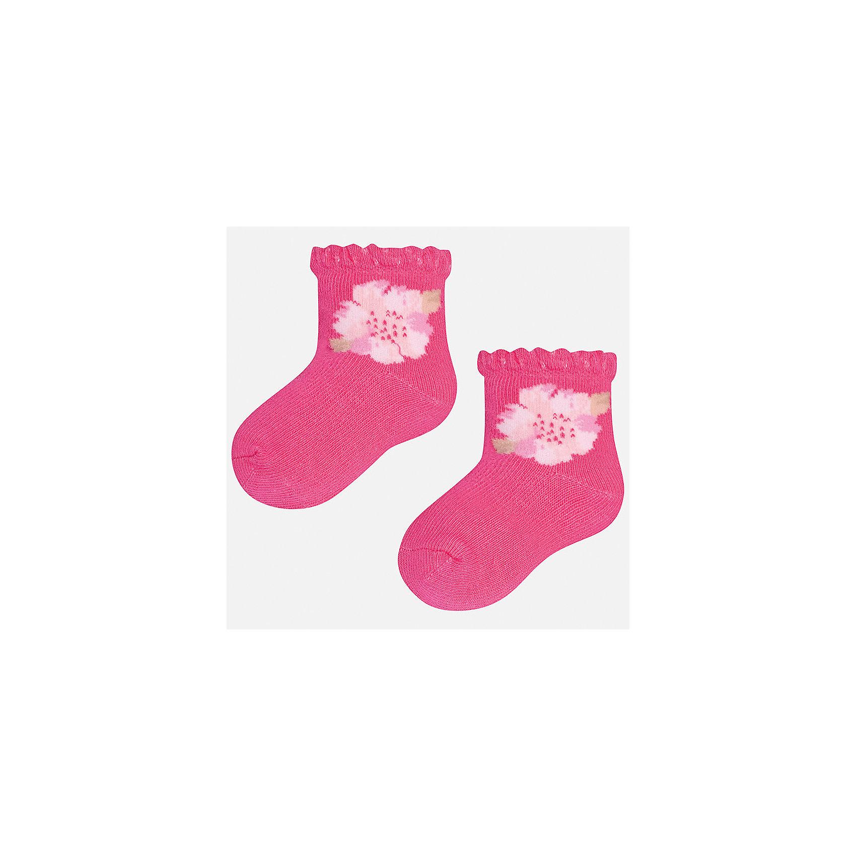 Носки для девочки MayoralНоски<br>Характеристики товара:<br><br>• цвет: розовый<br>• состав: 68% хлопок, 28% полиамид, 4% эластан<br>• комплектация: одна пара<br>• мягкая ажурная резинка<br>• эластичный материал<br>• декорированы цветами<br>• страна бренда: Испания<br><br>Удобные симпатичные носки для девочки помогут обеспечить ребенку комфорт и дополнить наряд. Универсальный цвет позволяет надевать их под обувь разных расцветок. Носки удобно сидят на ноге и красиво смотрятся. В составе материала - натуральный хлопок, гипоаллергенный, приятный на ощупь, дышащий. <br><br>Одежда, обувь и аксессуары от испанского бренда Mayoral полюбились детям и взрослым по всему миру. Модели этой марки - стильные и удобные. Для их производства используются только безопасные, качественные материалы и фурнитура. Порадуйте ребенка модными и красивыми вещами от Mayoral! <br><br>Носки для девочки от испанского бренда Mayoral (Майорал) можно купить в нашем интернет-магазине.<br><br>Ширина мм: 87<br>Глубина мм: 10<br>Высота мм: 105<br>Вес г: 115<br>Цвет: фиолетовый<br>Возраст от месяцев: 21<br>Возраст до месяцев: 24<br>Пол: Женский<br>Возраст: Детский<br>Размер: 24,12<br>SKU: 5293388