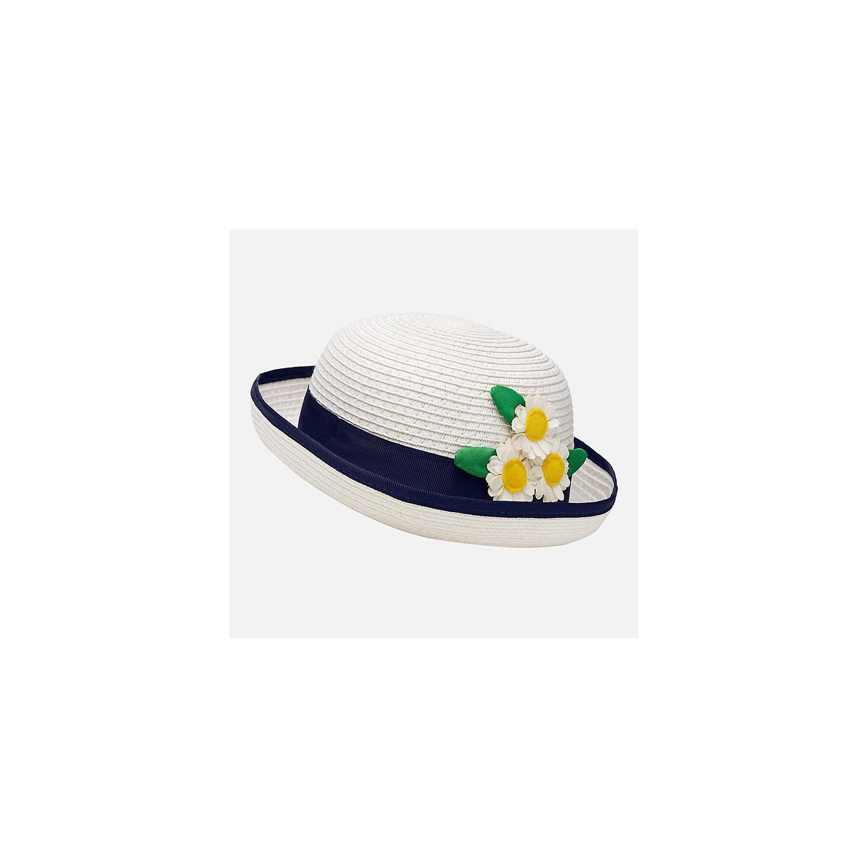 Шляпа для девочки MayoralЛетние<br>Характеристики товара:<br><br>• цвет: белый/синий<br>• состав: 100% бумага<br>• контрастная окантовка<br>• дышащая фактура<br>• декорирована лентой и текстильными цветами<br>• страна бренда: Испания<br><br>Красивая легкая шляпа для девочки поможет обеспечить ребенку защиту от солнца и дополнить наряд. Универсальный цвет позволяет надевать её под наряды различных расцветок. Шляпа удобно сидит и красиво смотрится. <br><br>Одежда, обувь и аксессуары от испанского бренда Mayoral полюбились детям и взрослым по всему миру. Модели этой марки - стильные и удобные. Для их производства используются только безопасные, качественные материалы и фурнитура. Порадуйте ребенка модными и красивыми вещами от Mayoral! <br><br>Шляпу для девочки от испанского бренда Mayoral (Майорал) можно купить в нашем интернет-магазине.<br><br>Ширина мм: 89<br>Глубина мм: 117<br>Высота мм: 44<br>Вес г: 155<br>Цвет: белый<br>Возраст от месяцев: 24<br>Возраст до месяцев: 36<br>Пол: Женский<br>Возраст: Детский<br>Размер: 50,48<br>SKU: 5293403