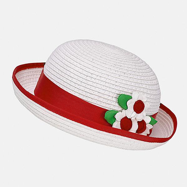 Шапка для девочки MayoralШапочки<br>Характеристики товара:<br><br>• цвет: белый/красный<br>• состав: 100% бумага<br>• контрастная окантовка<br>• дышащая фактура<br>• декорирована лентой и текстильными цветами<br>• страна бренда: Испания<br><br>Красивая легкая шляпа для девочки поможет обеспечить ребенку защиту от солнца и дополнить наряд. Универсальный цвет позволяет надевать её под наряды различных расцветок. Шляпа удобно сидит и красиво смотрится. <br><br>Одежда, обувь и аксессуары от испанского бренда Mayoral полюбились детям и взрослым по всему миру. Модели этой марки - стильные и удобные. Для их производства используются только безопасные, качественные материалы и фурнитура. Порадуйте ребенка модными и красивыми вещами от Mayoral! <br><br>Шляпу для девочки от испанского бренда Mayoral (Майорал) можно купить в нашем интернет-магазине.<br><br>Ширина мм: 89<br>Глубина мм: 117<br>Высота мм: 44<br>Вес г: 155<br>Цвет: красный<br>Возраст от месяцев: 12<br>Возраст до месяцев: 18<br>Пол: Женский<br>Возраст: Детский<br>Размер: 48,50<br>SKU: 5293406