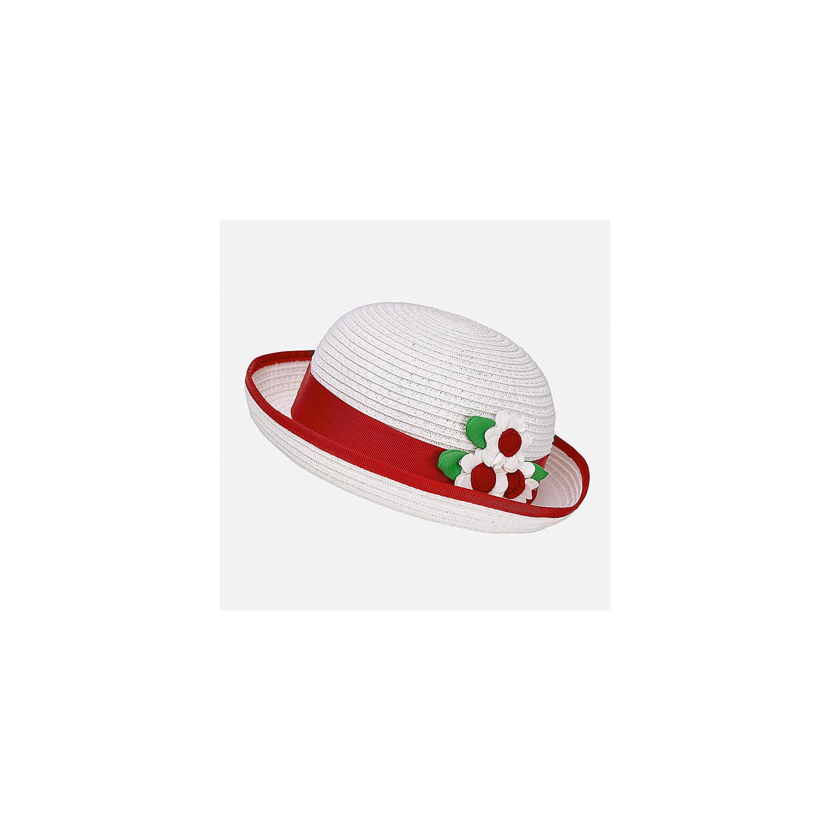 Шапка для девочки MayoralШапочки<br>Характеристики товара:<br><br>• цвет: белый/красный<br>• состав: 100% бумага<br>• контрастная окантовка<br>• дышащая фактура<br>• декорирована лентой и текстильными цветами<br>• страна бренда: Испания<br><br>Красивая легкая шляпа для девочки поможет обеспечить ребенку защиту от солнца и дополнить наряд. Универсальный цвет позволяет надевать её под наряды различных расцветок. Шляпа удобно сидит и красиво смотрится. <br><br>Одежда, обувь и аксессуары от испанского бренда Mayoral полюбились детям и взрослым по всему миру. Модели этой марки - стильные и удобные. Для их производства используются только безопасные, качественные материалы и фурнитура. Порадуйте ребенка модными и красивыми вещами от Mayoral! <br><br>Шляпу для девочки от испанского бренда Mayoral (Майорал) можно купить в нашем интернет-магазине.<br><br>Ширина мм: 89<br>Глубина мм: 117<br>Высота мм: 44<br>Вес г: 155<br>Цвет: красный<br>Возраст от месяцев: 24<br>Возраст до месяцев: 36<br>Пол: Женский<br>Возраст: Детский<br>Размер: 50,48<br>SKU: 5293406