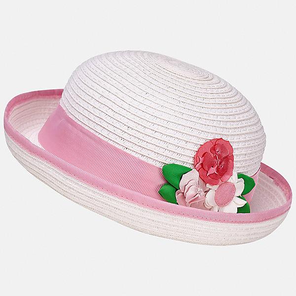 Шляпа для девочки MayoralГоловные уборы<br>Характеристики товара:<br><br>• цвет: белый/розовый<br>• состав: 100% бумага<br>• контрастная окантовка<br>• дышащая фактура<br>• декорирована лентой и текстильными цветами<br>• страна бренда: Испания<br><br>Красивая легкая шляпа для девочки поможет обеспечить ребенку защиту от солнца и дополнить наряд. Универсальный цвет позволяет надевать её под наряды различных расцветок. Шляпа удобно сидит и красиво смотрится. <br><br>Одежда, обувь и аксессуары от испанского бренда Mayoral полюбились детям и взрослым по всему миру. Модели этой марки - стильные и удобные. Для их производства используются только безопасные, качественные материалы и фурнитура. Порадуйте ребенка модными и красивыми вещами от Mayoral! <br><br>Шляпу для девочки от испанского бренда Mayoral (Майорал) можно купить в нашем интернет-магазине.<br>Ширина мм: 89; Глубина мм: 117; Высота мм: 44; Вес г: 155; Цвет: лиловый; Возраст от месяцев: 12; Возраст до месяцев: 18; Пол: Женский; Возраст: Детский; Размер: 48,50; SKU: 5293409;
