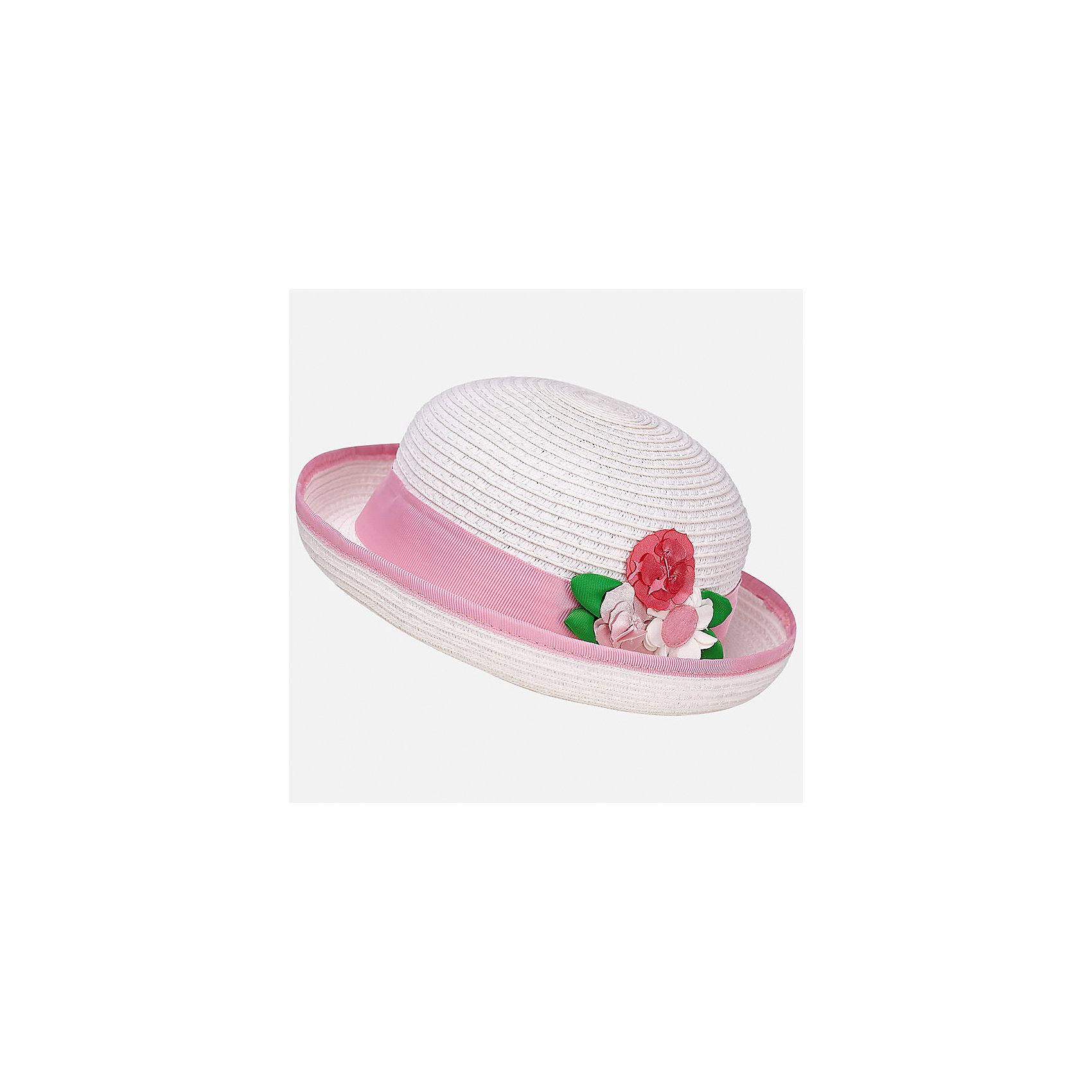 Шляпа для девочки MayoralЛетние<br>Характеристики товара:<br><br>• цвет: белый/розовый<br>• состав: 100% бумага<br>• контрастная окантовка<br>• дышащая фактура<br>• декорирована лентой и текстильными цветами<br>• страна бренда: Испания<br><br>Красивая легкая шляпа для девочки поможет обеспечить ребенку защиту от солнца и дополнить наряд. Универсальный цвет позволяет надевать её под наряды различных расцветок. Шляпа удобно сидит и красиво смотрится. <br><br>Одежда, обувь и аксессуары от испанского бренда Mayoral полюбились детям и взрослым по всему миру. Модели этой марки - стильные и удобные. Для их производства используются только безопасные, качественные материалы и фурнитура. Порадуйте ребенка модными и красивыми вещами от Mayoral! <br><br>Шляпу для девочки от испанского бренда Mayoral (Майорал) можно купить в нашем интернет-магазине.<br><br>Ширина мм: 89<br>Глубина мм: 117<br>Высота мм: 44<br>Вес г: 155<br>Цвет: фиолетовый<br>Возраст от месяцев: 12<br>Возраст до месяцев: 18<br>Пол: Женский<br>Возраст: Детский<br>Размер: 48,50<br>SKU: 5293409