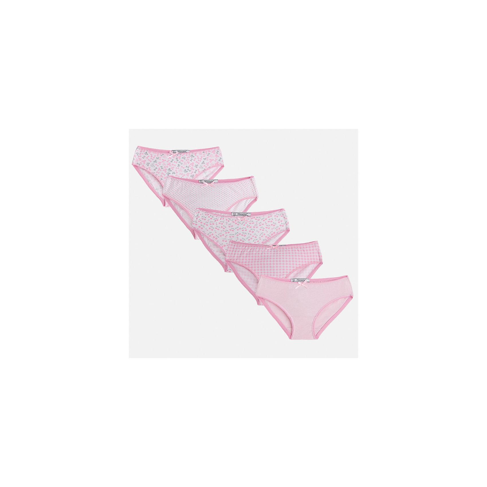 Трусы (5 шт.) для девочки MayoralНижнее бельё<br>Характеристики товара:<br><br>• цвет: розовый<br>• состав: 100% хлопок<br>• комплектация: 5 шт.<br>• мягкая резинка<br>• эластичный материал<br>• декорированы бантом<br>• страна бренда: Испания<br><br>В комплекте - пять предметов различной расцветки. Некоторые декорированы принтом. Трусы сделаны из мягкого материала, поэтому в них ребенку будет очень удобно. В составе материала - только натуральный хлопок, гипоаллергенный, приятный на ощупь, дышащий. <br><br>Трусы (5 шт.) для девочки от испанского бренда Mayoral (Майорал) можно купить в нашем интернет-магазине.<br><br>Ширина мм: 196<br>Глубина мм: 10<br>Высота мм: 154<br>Вес г: 152<br>Цвет: фиолетовый<br>Возраст от месяцев: 144<br>Возраст до месяцев: 156<br>Пол: Женский<br>Возраст: Детский<br>Размер: 158,92,104,116,128/134,140,152<br>SKU: 5293428