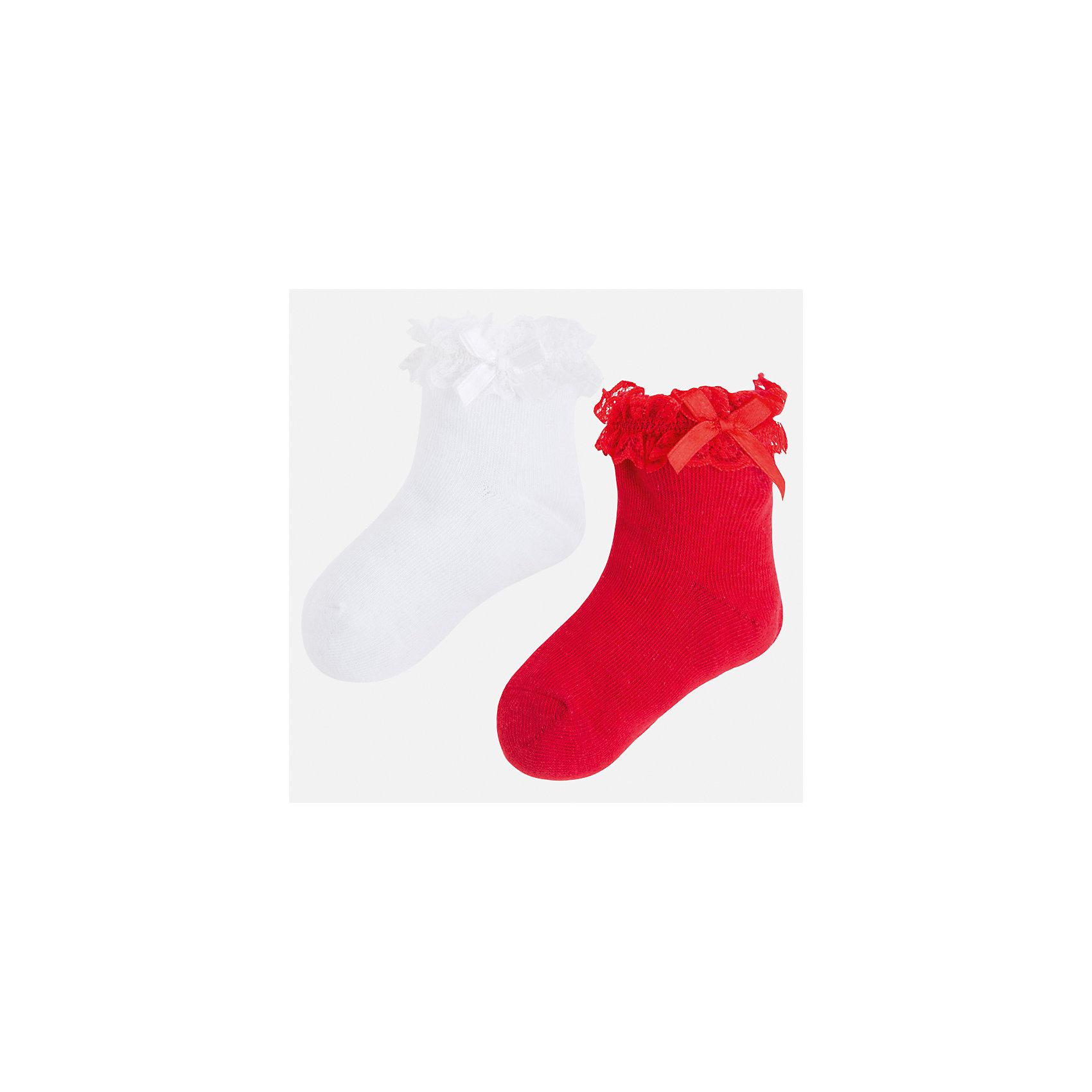 Носки (2 пары) для девочки MayoralХарактеристики товара:<br><br>• цвет: белый/красный<br>• состав: 70% хлопок, 24% полиэстер, 3% эластан, 3% полиамид<br>• комплектация: две пары<br>• мягкая ажурная резинка<br>• эластичный материал<br>• декорированы бантом<br>• страна бренда: Испания<br><br>Удобные симпатичные носки для девочки помогут обеспечить ребенку комфорт и дополнить наряд. Универсальный цвет позволяет надевать их под обувь разных расцветок. Носки удобно сидят на ноге и красиво смотрятся. В составе материала - натуральный хлопок, гипоаллергенный, приятный на ощупь, дышащий. <br><br>Одежда, обувь и аксессуары от испанского бренда Mayoral полюбились детям и взрослым по всему миру. Модели этой марки - стильные и удобные. Для их производства используются только безопасные, качественные материалы и фурнитура. Порадуйте ребенка модными и красивыми вещами от Mayoral! <br><br>Носки (2 пары) для девочки от испанского бренда Mayoral (Майорал) можно купить в нашем интернет-магазине.<br><br>Ширина мм: 87<br>Глубина мм: 10<br>Высота мм: 105<br>Вес г: 115<br>Цвет: красный<br>Возраст от месяцев: 48<br>Возраст до месяцев: 60<br>Пол: Женский<br>Возраст: Детский<br>Размер: 2,4,6,8<br>SKU: 5293459