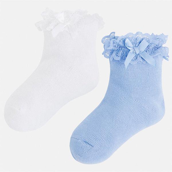 Носки (2 пары) для девочки MayoralНоски<br>Характеристики товара:<br><br>• цвет: белый/голубой<br>• состав: 70% хлопок, 24% полиэстер, 3% эластан, 3% полиамид<br>• комплектация: две пары<br>• мягкая ажурная резинка<br>• эластичный материал<br>• декорированы бантом<br>• страна бренда: Испания<br><br>Удобные симпатичные носки для девочки помогут обеспечить ребенку комфорт и дополнить наряд. Универсальный цвет позволяет надевать их под обувь разных расцветок. Носки удобно сидят на ноге и красиво смотрятся. В составе материала - натуральный хлопок, гипоаллергенный, приятный на ощупь, дышащий. <br><br>Одежда, обувь и аксессуары от испанского бренда Mayoral полюбились детям и взрослым по всему миру. Модели этой марки - стильные и удобные. Для их производства используются только безопасные, качественные материалы и фурнитура. Порадуйте ребенка модными и красивыми вещами от Mayoral! <br><br>Носки (2 пары) для девочки от испанского бренда Mayoral (Майорал) можно купить в нашем интернет-магазине.<br><br>Ширина мм: 87<br>Глубина мм: 10<br>Высота мм: 105<br>Вес г: 115<br>Цвет: голубой<br>Возраст от месяцев: 84<br>Возраст до месяцев: 96<br>Пол: Женский<br>Возраст: Детский<br>Размер: 8,2,6,4<br>SKU: 5293464