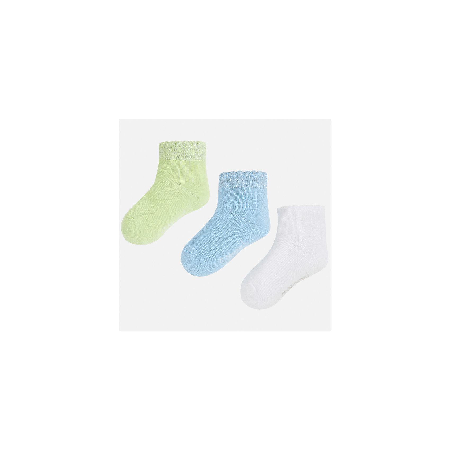 Носки (3 пары) для девочки MayoralНоски<br>Характеристики товара:<br><br>• цвет: зелёный/голубой/белый<br>• состав: 72% хлопок, 20% полиэстер, 17% металлизированная нить, 3% эластан<br>• комплектация: три пары<br>• мягкая широкая резинка<br>• эластичный материал<br>• однотонные<br>• страна бренда: Испания<br><br>Удобные симпатичные носки для девочки помогут обеспечить ребенку комфорт и дополнить наряд. Носки удобно сидят на ноге и аккуратно смотрятся. В составе материала - натуральный хлопок, гипоаллергенный, приятный на ощупь, дышащий. <br><br>Носки (3 пары) для девочки от испанского бренда Mayoral (Майорал) можно купить в нашем интернет-магазине.<br><br>Ширина мм: 87<br>Глубина мм: 10<br>Высота мм: 105<br>Вес г: 115<br>Цвет: зеленый<br>Возраст от месяцев: 48<br>Возраст до месяцев: 60<br>Пол: Женский<br>Возраст: Детский<br>Размер: 2,8,4,6<br>SKU: 5293489