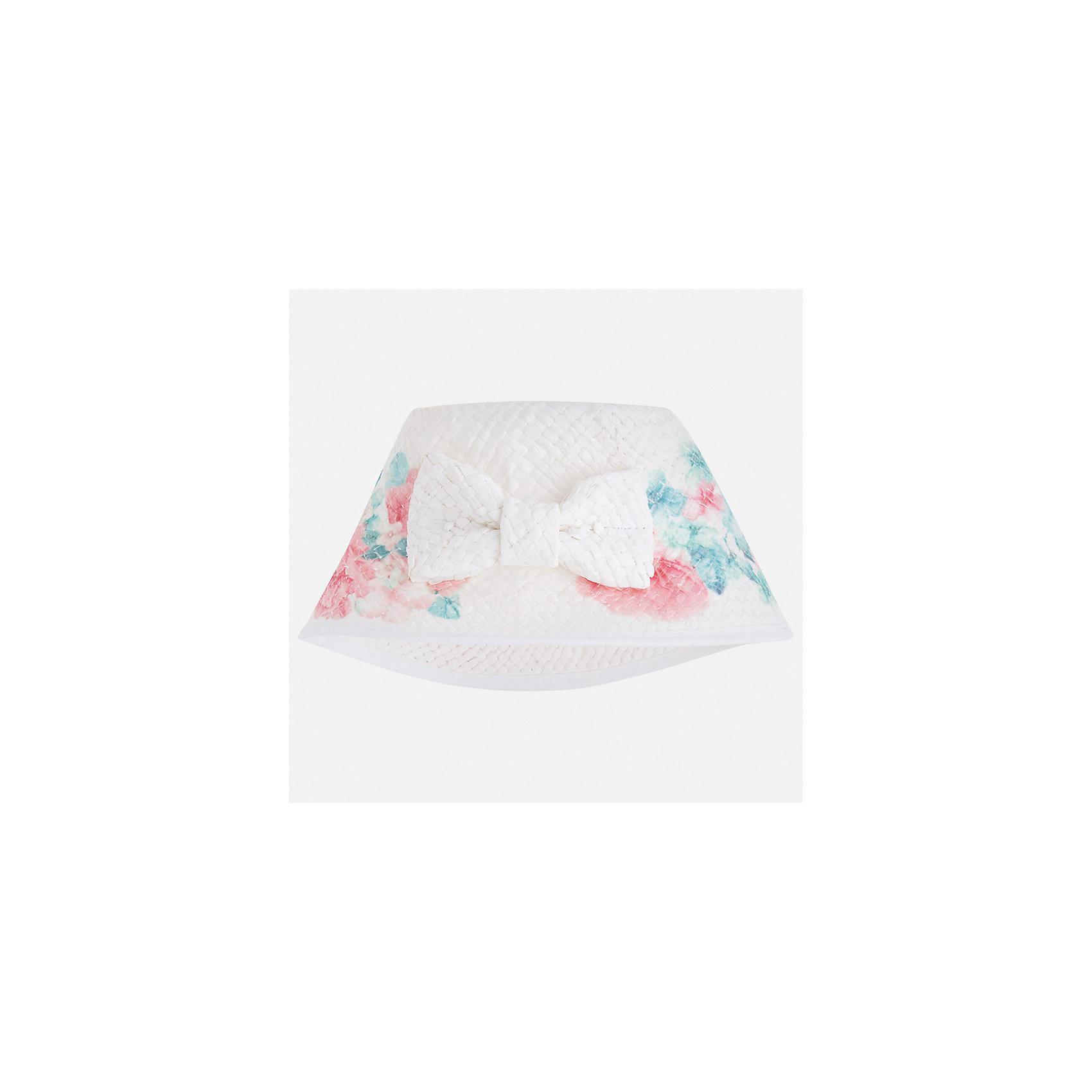 Шляпа для девочки MayoralГоловные уборы<br>Характеристики товара:<br><br>• цвет: белый<br>• состав: 100% бумага<br>• принт<br>• дышащая фактура<br>• декорирована бантом<br>• страна бренда: Испания<br><br>Красивая легкая шляпа для девочки поможет обеспечить ребенку защиту от солнца и дополнить наряд. Универсальный цвет позволяет надевать её под наряды различных расцветок. Шляпа удобно сидит и красиво смотрится. <br><br>Одежда, обувь и аксессуары от испанского бренда Mayoral полюбились детям и взрослым по всему миру. Модели этой марки - стильные и удобные. Для их производства используются только безопасные, качественные материалы и фурнитура. Порадуйте ребенка модными и красивыми вещами от Mayoral! <br><br>Шляпу для девочки от испанского бренда Mayoral (Майорал) можно купить в нашем интернет-магазине.<br><br>Ширина мм: 89<br>Глубина мм: 117<br>Высота мм: 44<br>Вес г: 155<br>Цвет: белый<br>Возраст от месяцев: 48<br>Возраст до месяцев: 60<br>Пол: Женский<br>Возраст: Детский<br>Размер: 52,54,50<br>SKU: 5293519