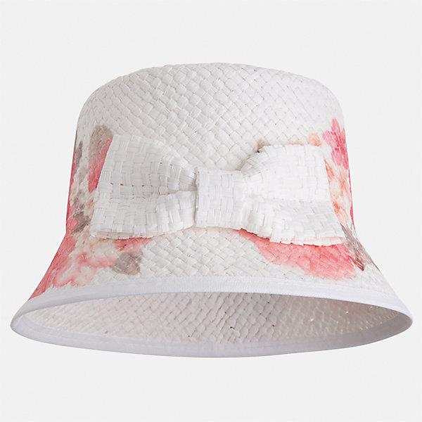 Шляпа для девочки MayoralГоловные уборы<br>Характеристики товара:<br><br>• цвет: белый<br>• состав: 100% бумага<br>• принт<br>• дышащая фактура<br>• декорирована бантом<br>• страна бренда: Испания<br><br>Красивая легкая шляпа для девочки поможет обеспечить ребенку защиту от солнца и дополнить наряд. Шляпа удобно сидит и красиво смотрится. <br><br>Шляпу для девочки от испанского бренда Mayoral (Майорал) можно купить в нашем интернет-магазине.<br><br>Ширина мм: 89<br>Глубина мм: 117<br>Высота мм: 44<br>Вес г: 155<br>Цвет: оранжевый<br>Возраст от месяцев: 72<br>Возраст до месяцев: 84<br>Пол: Женский<br>Возраст: Детский<br>Размер: 54,50,52<br>SKU: 5293523