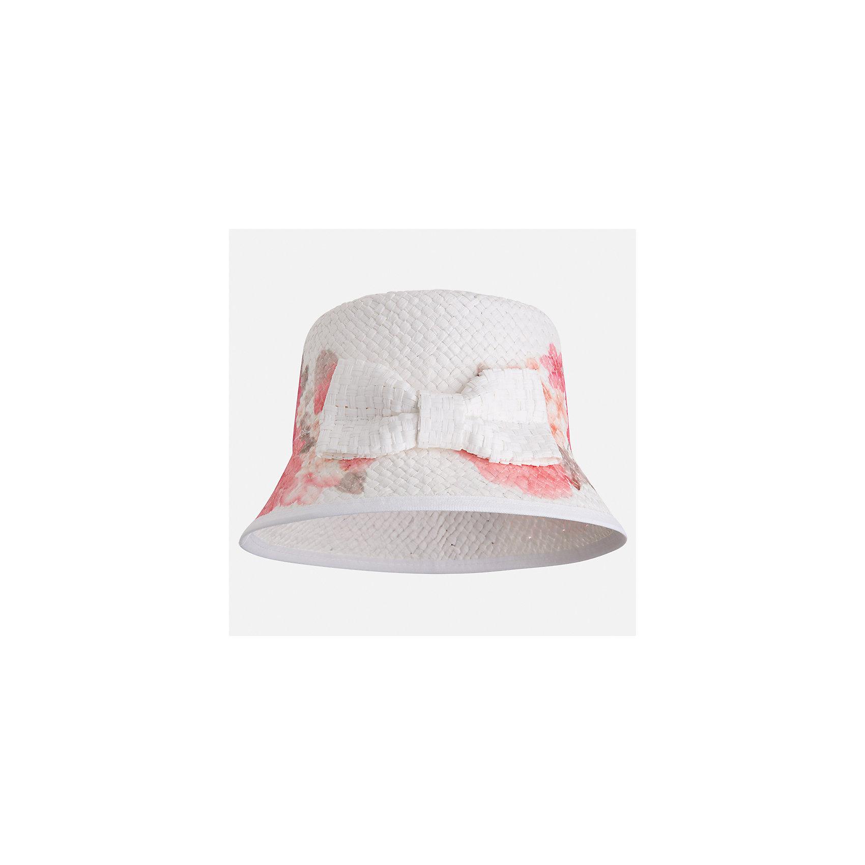 Шляпа для девочки MayoralЛетние<br>Характеристики товара:<br><br>• цвет: белый<br>• состав: 100% бумага<br>• принт<br>• дышащая фактура<br>• декорирована бантом<br>• страна бренда: Испания<br><br>Красивая легкая шляпа для девочки поможет обеспечить ребенку защиту от солнца и дополнить наряд. Шляпа удобно сидит и красиво смотрится. <br><br>Шляпу для девочки от испанского бренда Mayoral (Майорал) можно купить в нашем интернет-магазине.<br><br>Ширина мм: 89<br>Глубина мм: 117<br>Высота мм: 44<br>Вес г: 155<br>Цвет: оранжевый<br>Возраст от месяцев: 72<br>Возраст до месяцев: 84<br>Пол: Женский<br>Возраст: Детский<br>Размер: 54,50,52<br>SKU: 5293523