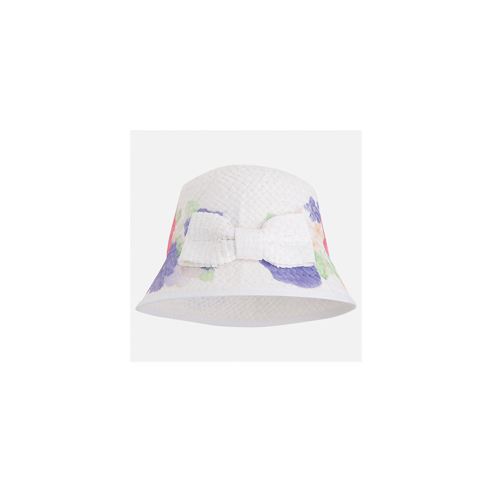 Шляпа для девочки MayoralЛетние<br>Характеристики товара:<br><br>• цвет: белый<br>• состав: 100% бумага<br>• принт<br>• дышащая фактура<br>• декорирована бантом<br>• страна бренда: Испания<br><br>Красивая легкая шляпа для девочки поможет обеспечить ребенку защиту от солнца и дополнить наряд. Шляпа удобно сидит и красиво смотрится. <br><br>Шляпу для девочки от испанского бренда Mayoral (Майорал) можно купить в нашем интернет-магазине.<br><br>Ширина мм: 89<br>Глубина мм: 117<br>Высота мм: 44<br>Вес г: 155<br>Цвет: синий<br>Возраст от месяцев: 72<br>Возраст до месяцев: 84<br>Пол: Женский<br>Возраст: Детский<br>Размер: 54,50,52<br>SKU: 5293527