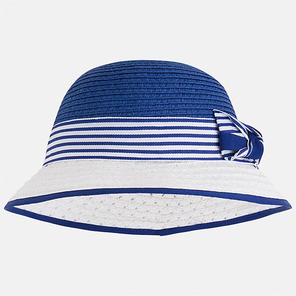 Шляпа для девочки MayoralГоловные уборы<br>Характеристики товара:<br><br>• цвет: синий/белый<br>• состав: 100% бумага<br>• контрастные цвета<br>• дышащая фактура<br>• декорирована бантом<br>• страна бренда: Испания<br><br>Красивая легкая шляпа для девочки поможет обеспечить ребенку защиту от солнца и дополнить наряд. Универсальный цвет позволяет надевать её под наряды различных расцветок. Шляпа удобно сидит и красиво смотрится. <br><br>Одежда, обувь и аксессуары от испанского бренда Mayoral полюбились детям и взрослым по всему миру. Модели этой марки - стильные и удобные. Для их производства используются только безопасные, качественные материалы и фурнитура. Порадуйте ребенка модными и красивыми вещами от Mayoral! <br><br>Шляпу для девочки от испанского бренда Mayoral (Майорал) можно купить в нашем интернет-магазине.<br>Ширина мм: 89; Глубина мм: 117; Высота мм: 44; Вес г: 155; Цвет: синий; Возраст от месяцев: 24; Возраст до месяцев: 36; Пол: Женский; Возраст: Детский; Размер: 50,54,52; SKU: 5293531;