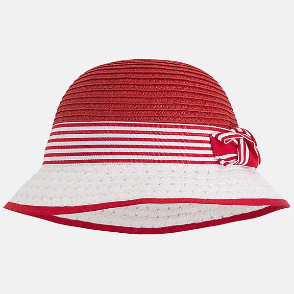Шляпа для девочки MayoralЛетние<br>Характеристики товара:<br><br>• цвет: красный/белый<br>• состав: 100% бумага<br>• контрастные цвета<br>• дышащая фактура<br>• декорирована бантом<br>• страна бренда: Испания<br><br>Красивая легкая шляпа для девочки поможет обеспечить ребенку защиту от солнца и дополнить наряд. Универсальный цвет позволяет надевать её под наряды различных расцветок. Шляпа удобно сидит и красиво смотрится. <br><br>Одежда, обувь и аксессуары от испанского бренда Mayoral полюбились детям и взрослым по всему миру. Модели этой марки - стильные и удобные. Для их производства используются только безопасные, качественные материалы и фурнитура. Порадуйте ребенка модными и красивыми вещами от Mayoral! <br><br>Шляпу для девочки от испанского бренда Mayoral (Майорал) можно купить в нашем интернет-магазине.<br><br>Ширина мм: 89<br>Глубина мм: 117<br>Высота мм: 44<br>Вес г: 155<br>Цвет: красный<br>Возраст от месяцев: 48<br>Возраст до месяцев: 60<br>Пол: Женский<br>Возраст: Детский<br>Размер: 52,50,54<br>SKU: 5293535