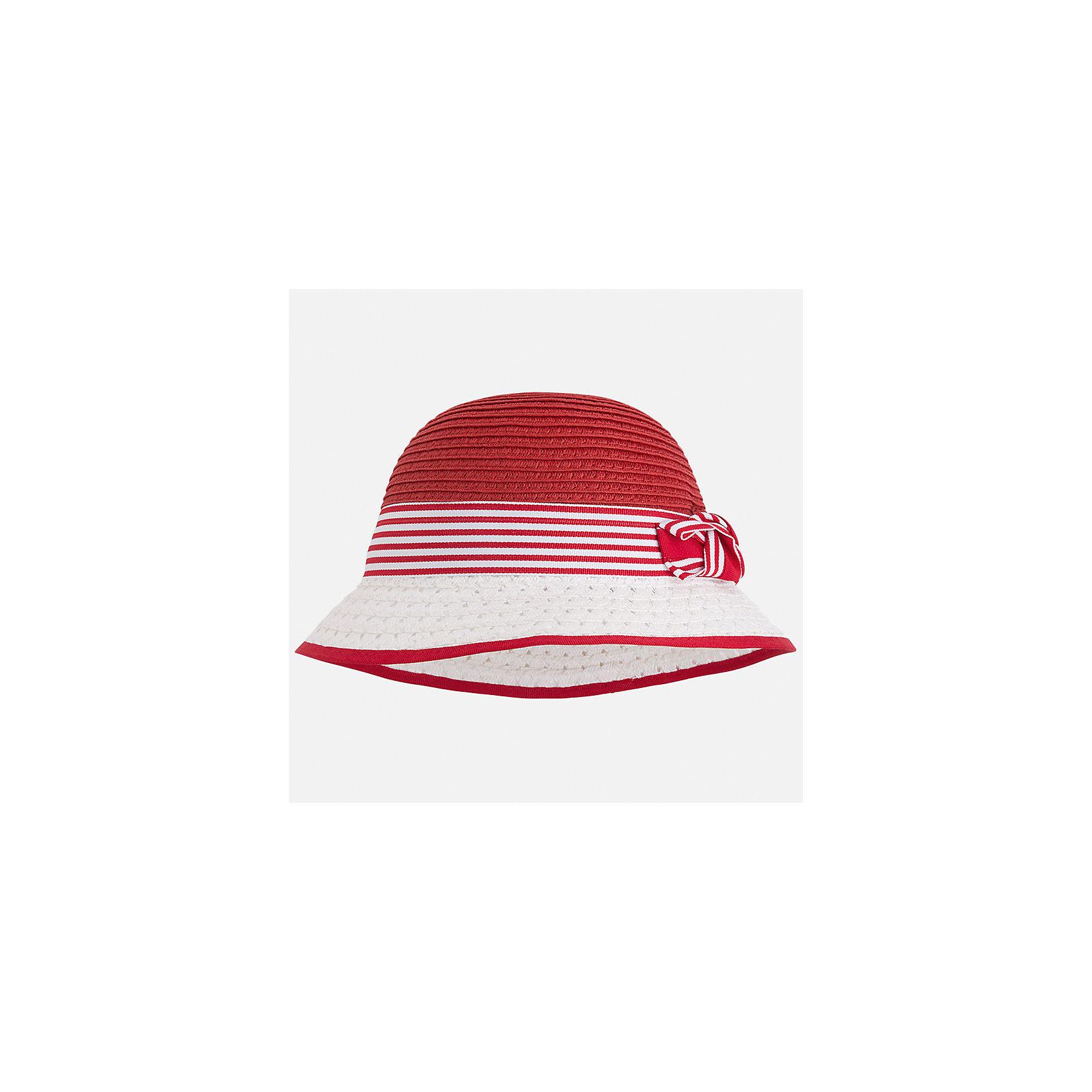 Шляпа для девочки MayoralГоловные уборы<br>Характеристики товара:<br><br>• цвет: красный/белый<br>• состав: 100% бумага<br>• контрастные цвета<br>• дышащая фактура<br>• декорирована бантом<br>• страна бренда: Испания<br><br>Красивая легкая шляпа для девочки поможет обеспечить ребенку защиту от солнца и дополнить наряд. Универсальный цвет позволяет надевать её под наряды различных расцветок. Шляпа удобно сидит и красиво смотрится. <br><br>Одежда, обувь и аксессуары от испанского бренда Mayoral полюбились детям и взрослым по всему миру. Модели этой марки - стильные и удобные. Для их производства используются только безопасные, качественные материалы и фурнитура. Порадуйте ребенка модными и красивыми вещами от Mayoral! <br><br>Шляпу для девочки от испанского бренда Mayoral (Майорал) можно купить в нашем интернет-магазине.<br><br>Ширина мм: 89<br>Глубина мм: 117<br>Высота мм: 44<br>Вес г: 155<br>Цвет: красный<br>Возраст от месяцев: 24<br>Возраст до месяцев: 36<br>Пол: Женский<br>Возраст: Детский<br>Размер: 50,54,52<br>SKU: 5293535