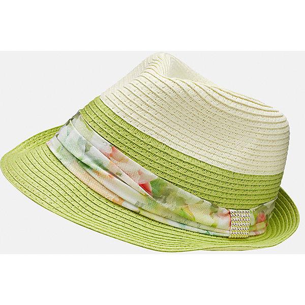 Шляпа для девочки MayoralГоловные уборы<br>Характеристики товара:<br><br>• цвет: зеленый/белый<br>• состав: 100% бумага<br>• дышащая фактура<br>• декорирована лентой<br>• страна бренда: Испания<br><br>Красивая легкая шляпа для девочки поможет обеспечить ребенку защиту от солнца и дополнить наряд. Универсальный цвет позволяет надевать её под наряды различных расцветок. Шляпа удобно сидит и красиво смотрится. <br><br>Одежда, обувь и аксессуары от испанского бренда Mayoral полюбились детям и взрослым по всему миру. Модели этой марки - стильные и удобные. Для их производства используются только безопасные, качественные материалы и фурнитура. Порадуйте ребенка модными и красивыми вещами от Mayoral! <br><br>Шляпу для девочки от испанского бренда Mayoral (Майорал) можно купить в нашем интернет-магазине.<br><br>Ширина мм: 89<br>Глубина мм: 117<br>Высота мм: 44<br>Вес г: 155<br>Цвет: зеленый<br>Возраст от месяцев: 96<br>Возраст до месяцев: 120<br>Пол: Женский<br>Возраст: Детский<br>Размер: 56,54<br>SKU: 5293563