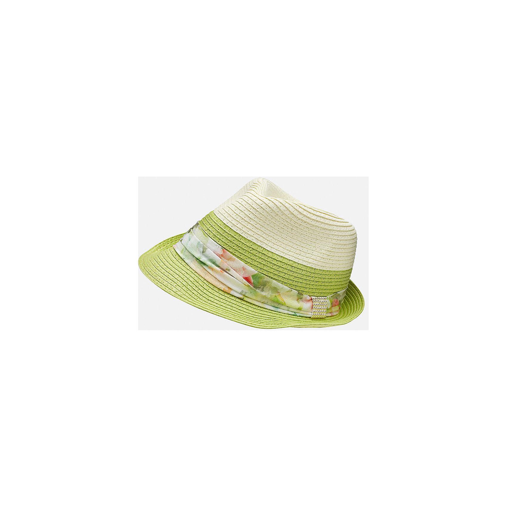 Шляпа для девочки MayoralЛетние<br>Характеристики товара:<br><br>• цвет: зеленый/белый<br>• состав: 100% бумага<br>• дышащая фактура<br>• декорирована лентой<br>• страна бренда: Испания<br><br>Красивая легкая шляпа для девочки поможет обеспечить ребенку защиту от солнца и дополнить наряд. Универсальный цвет позволяет надевать её под наряды различных расцветок. Шляпа удобно сидит и красиво смотрится. <br><br>Одежда, обувь и аксессуары от испанского бренда Mayoral полюбились детям и взрослым по всему миру. Модели этой марки - стильные и удобные. Для их производства используются только безопасные, качественные материалы и фурнитура. Порадуйте ребенка модными и красивыми вещами от Mayoral! <br><br>Шляпу для девочки от испанского бренда Mayoral (Майорал) можно купить в нашем интернет-магазине.<br><br>Ширина мм: 89<br>Глубина мм: 117<br>Высота мм: 44<br>Вес г: 155<br>Цвет: зеленый<br>Возраст от месяцев: 72<br>Возраст до месяцев: 84<br>Пол: Женский<br>Возраст: Детский<br>Размер: 54,56<br>SKU: 5293563