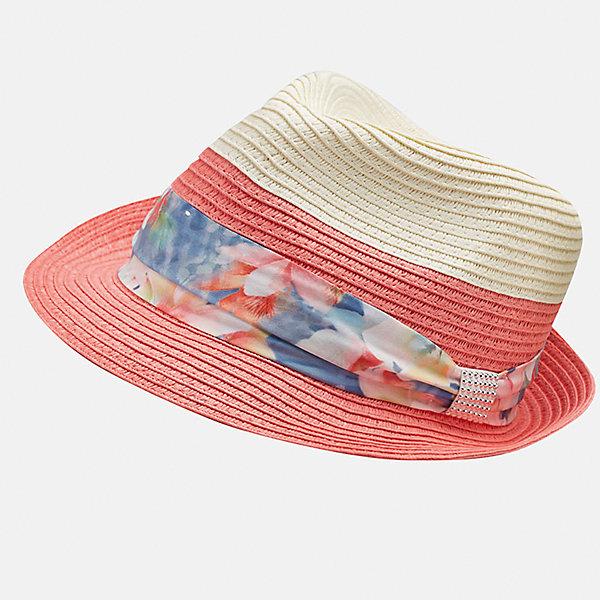 Шляпа для девочки MayoralЛетние<br>Характеристики товара:<br><br>• цвет: оранжевый/белый<br>• состав: 100% бумага<br>• двуцветная<br>• дышащая фактура<br>• декорирована лентой<br>• страна бренда: Испания<br><br>Красивая легкая шляпа для девочки поможет обеспечить ребенку защиту от солнца и дополнить наряд. Универсальный цвет позволяет надевать её под наряды различных расцветок. Шляпа удобно сидит и красиво смотрится. <br><br>Одежда, обувь и аксессуары от испанского бренда Mayoral полюбились детям и взрослым по всему миру. Модели этой марки - стильные и удобные. Для их производства используются только безопасные, качественные материалы и фурнитура. Порадуйте ребенка модными и красивыми вещами от Mayoral! <br><br>Шляпу для девочки от испанского бренда Mayoral (Майорал) можно купить в нашем интернет-магазине.<br><br>Ширина мм: 89<br>Глубина мм: 117<br>Высота мм: 44<br>Вес г: 155<br>Цвет: розовый<br>Возраст от месяцев: 72<br>Возраст до месяцев: 84<br>Пол: Женский<br>Возраст: Детский<br>Размер: 54,58,56<br>SKU: 5293566