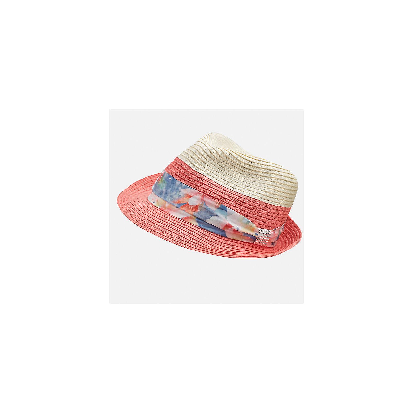 Шляпа для девочки MayoralГоловные уборы<br>Характеристики товара:<br><br>• цвет: оранжевый/белый<br>• состав: 100% бумага<br>• двуцветная<br>• дышащая фактура<br>• декорирована лентой<br>• страна бренда: Испания<br><br>Красивая легкая шляпа для девочки поможет обеспечить ребенку защиту от солнца и дополнить наряд. Универсальный цвет позволяет надевать её под наряды различных расцветок. Шляпа удобно сидит и красиво смотрится. <br><br>Одежда, обувь и аксессуары от испанского бренда Mayoral полюбились детям и взрослым по всему миру. Модели этой марки - стильные и удобные. Для их производства используются только безопасные, качественные материалы и фурнитура. Порадуйте ребенка модными и красивыми вещами от Mayoral! <br><br>Шляпу для девочки от испанского бренда Mayoral (Майорал) можно купить в нашем интернет-магазине.<br><br>Ширина мм: 89<br>Глубина мм: 117<br>Высота мм: 44<br>Вес г: 155<br>Цвет: розовый<br>Возраст от месяцев: 72<br>Возраст до месяцев: 84<br>Пол: Женский<br>Возраст: Детский<br>Размер: 54,58,56<br>SKU: 5293566