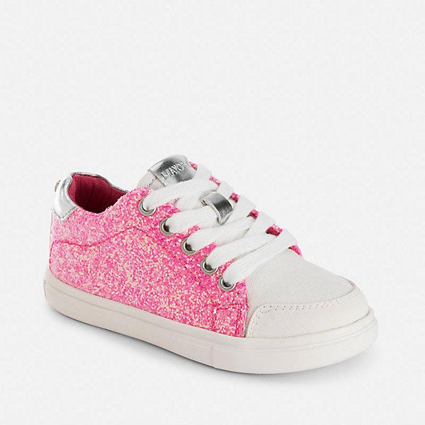 Кеды для девочки MayoralКеды<br>Характеристики товара:<br><br>• цвет: розовый<br>• состав: верх - полимер, подкладка и стелька - хлопок, подошва - резина<br>• застежка: шнуровка<br>• дышащие<br>• устойчивая подошва<br>• металлизированные элементы<br>• страна бренда: Испания<br><br>Стильные легкие кеды для девочки помогут обеспечить ребенку комфорт и дополнить наряд. Кеды удобно сидят на ноге и красиво смотрятся. Они станут оригинальным акцентом в наряде!<br><br>Кеды для девочки от испанского бренда Mayoral (Майорал) можно купить в нашем интернет-магазине.<br>Ширина мм: 250; Глубина мм: 150; Высота мм: 150; Вес г: 250; Цвет: лиловый; Возраст от месяцев: 24; Возраст до месяцев: 36; Пол: Женский; Возраст: Детский; Размер: 26,35,34,33,32,31,30,29,28,27; SKU: 5293714;