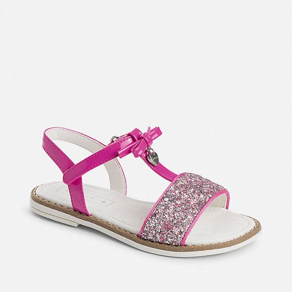 Босоножки для девочки MayoralНарядная обувь<br>Характеристики товара:<br><br>• цвет: розовый<br>• состав: верх - полиуретан, подкладка и стелька - натуральная кожа, подошва - полимер<br>• застежка: липучка<br>• металлическое украшение<br>• устойчивая подошва<br>• декорированы блестками <br>• страна бренда: Испания<br><br>Симпатичные сандали для девочки помогут обеспечить ребенку комфорт и дополнить наряд. Сандали удобно сидят на ноге и красиво смотрятся. Отличный вариант для теплой погоды!<br><br>Сандали для девочки от испанского бренда Mayoral (Майорал) можно купить в нашем интернет-магазине.<br>Ширина мм: 219; Глубина мм: 154; Высота мм: 121; Вес г: 343; Цвет: лиловый; Возраст от месяцев: 24; Возраст до месяцев: 36; Пол: Женский; Возраст: Детский; Размер: 35,27,28,29,30,31,32,26,33,34; SKU: 5293822;