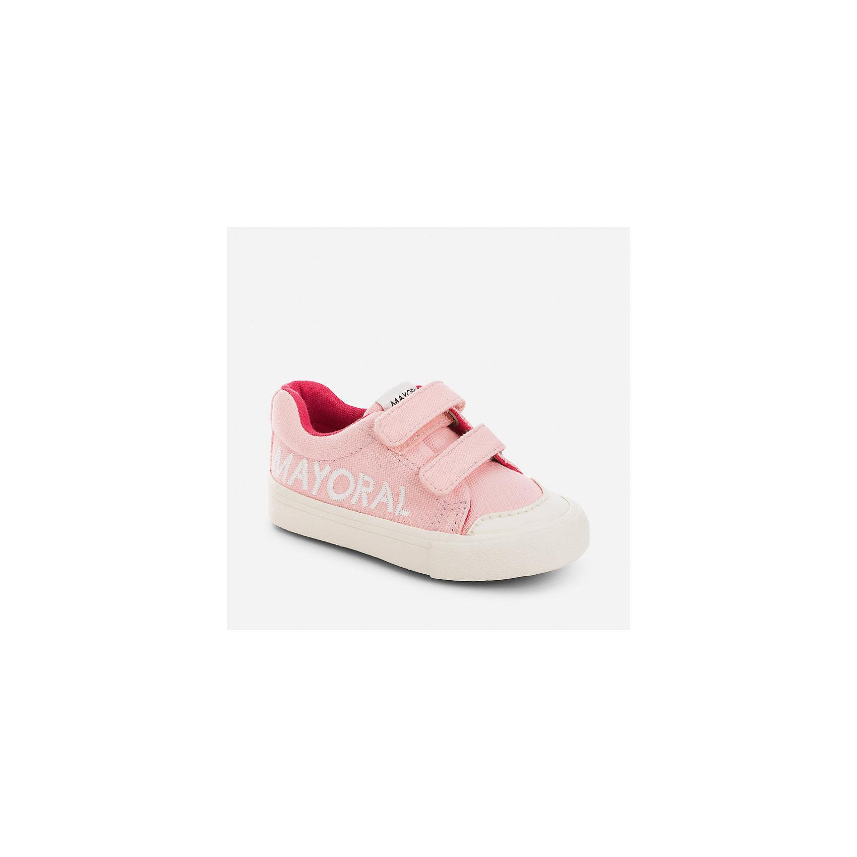 Кеды для девочки MayoralХарактеристики товара:<br><br>• цвет: розовый<br>• состав: верх, подкладка и стелька - хлопок, подошва - резина<br>• застежка: липучки<br>• украшены вышивкой<br>• устойчивая подошва<br>• яркая подкладка<br>• коллекция: весна-лето 2017<br>• страна бренда: Испания<br><br>Стильные кеды для девочки помогут обеспечить ребенку комфорт и дополнить наряд. Универсальный цвет позволяет надевать их под наряд разных расцветок. Кеды удобно сидят на ноге и красиво смотрятся. Они станут оригинальным акцентом в наряде!<br><br>Одежда, обувь и аксессуары от испанского бренда Mayoral полюбились детям и взрослым по всему миру. Модели этой марки - стильные и удобные. Для их производства используются только безопасные, качественные материалы и фурнитура. Порадуйте ребенка модными и красивыми вещами от Mayoral! <br><br>Кеды для девочки от испанского бренда Mayoral (Майорал) можно купить в нашем интернет-магазине.<br><br>Ширина мм: 250<br>Глубина мм: 150<br>Высота мм: 150<br>Вес г: 250<br>Цвет: розовый<br>Возраст от месяцев: 72<br>Возраст до месяцев: 84<br>Пол: Женский<br>Возраст: Детский<br>Размер: 30,26,27,28,29<br>SKU: 5293888