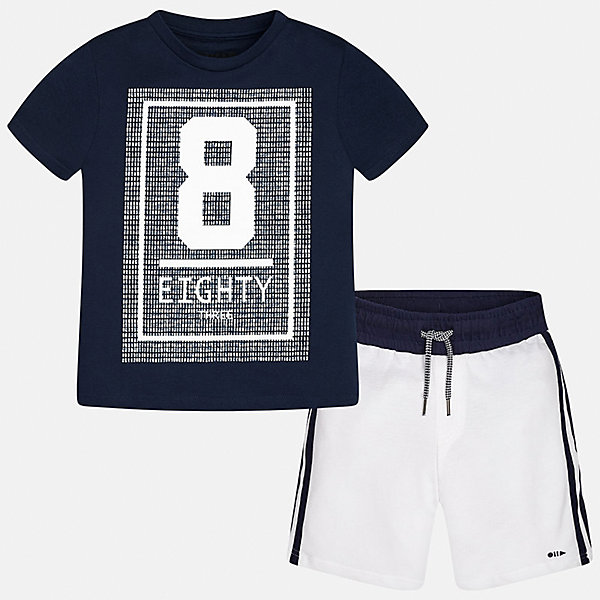 Комплект: футболка и шорты для мальчика MayoralСпортивная форма<br>Характеристики товара:<br><br>• цвет: синий/белый<br>• состав: 100% хлопок<br>• комплектация: шорты, футболка<br>• круглый горловой вырез<br>• декорирована принтом<br>• короткие рукава<br>• шорты - пояс со шнурком<br>• страна бренда: Испания<br><br>Стильная удобная футболка с принтом и шорты помогут разнообразить гардероб мальчика и удобно одеться. Универсальный цвет позволяет подобрать к вещам верхнюю одежду практически любой расцветки. Интересная отделка модели делает её нарядной и оригинальной. В составе материала - только натуральный хлопок, гипоаллергенный, приятный на ощупь, дышащий.<br><br>Одежда, обувь и аксессуары от испанского бренда Mayoral полюбились детям и взрослым по всему миру. Модели этой марки - стильные и удобные. Для их производства используются только безопасные, качественные материалы и фурнитура. Порадуйте ребенка модными и красивыми вещами от Mayoral! <br><br>Комплект для мальчика от испанского бренда Mayoral (Майорал) можно купить в нашем интернет-магазине.<br><br>Ширина мм: 215<br>Глубина мм: 88<br>Высота мм: 191<br>Вес г: 336<br>Цвет: синий<br>Возраст от месяцев: 84<br>Возраст до месяцев: 96<br>Пол: Мужской<br>Возраст: Детский<br>Размер: 170,164,158,152,140,128/134<br>SKU: 5294174