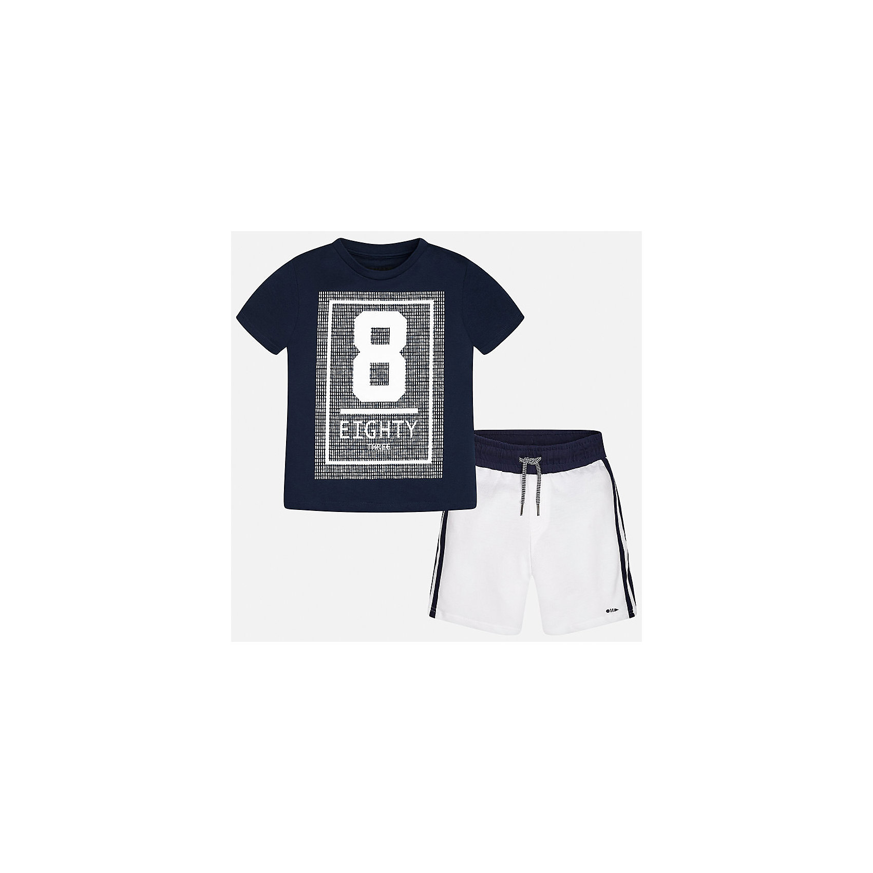 Комплект: футболка и шорты для мальчика MayoralХарактеристики товара:<br><br>• цвет: синий/белый<br>• состав: 100% хлопок<br>• комплектация: шорты, футболка<br>• круглый горловой вырез<br>• декорирована принтом<br>• короткие рукава<br>• шорты - пояс со шнурком<br>• страна бренда: Испания<br><br>Стильная удобная футболка с принтом и шорты помогут разнообразить гардероб мальчика и удобно одеться. Универсальный цвет позволяет подобрать к вещам верхнюю одежду практически любой расцветки. Интересная отделка модели делает её нарядной и оригинальной. В составе материала - только натуральный хлопок, гипоаллергенный, приятный на ощупь, дышащий.<br><br>Одежда, обувь и аксессуары от испанского бренда Mayoral полюбились детям и взрослым по всему миру. Модели этой марки - стильные и удобные. Для их производства используются только безопасные, качественные материалы и фурнитура. Порадуйте ребенка модными и красивыми вещами от Mayoral! <br><br>Комплект для мальчика от испанского бренда Mayoral (Майорал) можно купить в нашем интернет-магазине.<br><br>Ширина мм: 215<br>Глубина мм: 88<br>Высота мм: 191<br>Вес г: 336<br>Цвет: синий<br>Возраст от месяцев: 84<br>Возраст до месяцев: 96<br>Пол: Мужской<br>Возраст: Детский<br>Размер: 128/134,170,140,152,158,164<br>SKU: 5294174