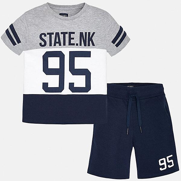 Комплект: футболка и брюки для мальчика MayoralКомплекты<br>Характеристики товара:<br><br>• цвет: синий/серый/белый<br>• состав: футболка - 92% хлопок, 8% полиэстер. шорты - 100% хлопок<br>• комплектация: шорты, футболка<br>• круглый горловой вырез<br>• декорирована принтом<br>• короткие рукава<br>• шорты - пояс со шнурком<br>• страна бренда: Испания<br><br>Стильная удобная футболка с принтом и шорты помогут разнообразить гардероб мальчика и удобно одеться. Универсальный цвет позволяет подобрать к вещам верхнюю одежду практически любой расцветки. Интересная отделка модели делает её нарядной и оригинальной. В составе материала - только натуральный хлопок, гипоаллергенный, приятный на ощупь, дышащий.<br><br>Одежда, обувь и аксессуары от испанского бренда Mayoral полюбились детям и взрослым по всему миру. Модели этой марки - стильные и удобные. Для их производства используются только безопасные, качественные материалы и фурнитура. Порадуйте ребенка модными и красивыми вещами от Mayoral! <br><br>Комплект для мальчика от испанского бренда Mayoral (Майорал) можно купить в нашем интернет-магазине.<br><br>Ширина мм: 215<br>Глубина мм: 88<br>Высота мм: 191<br>Вес г: 336<br>Цвет: синий<br>Возраст от месяцев: 132<br>Возраст до месяцев: 144<br>Пол: Мужской<br>Возраст: Детский<br>Размер: 158,128/134,170,164,152,140<br>SKU: 5294181