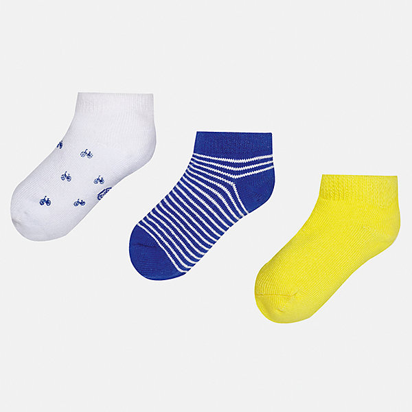 Носки (3 пары) для мальчика MayoralНоски<br>Характеристики товара:<br><br>• цвет: белый/синий/жёлтый<br>• состав: 72% хлопок, 25% полиамид, 3% эластан<br>• комплектация: три пары<br>• мягкая резинка<br>• эластичный материал<br>• декорированы рисунком<br>• страна бренда: Испания<br><br>Удобные симпатичные носки для мальчика помогут обеспечить ребенку комфорт и дополнить наряд. Универсальный цвет позволяет надевать их под обувь разных расцветок. Носки удобно сидят на ноге и аккуратно смотрятся. Этот комплект - практичный и красивый! В составе материала - натуральный хлопок, гипоаллергенный, приятный на ощупь, дышащий. <br><br>Одежда, обувь и аксессуары от испанского бренда Mayoral полюбились детям и взрослым по всему миру. Модели этой марки - стильные и удобные. Для их производства используются только безопасные, качественные материалы и фурнитура. Порадуйте ребенка модными и красивыми вещами от Mayoral! <br><br>Носки (3 пары) для мальчика от испанского бренда Mayoral (Майорал) можно купить в нашем интернет-магазине.<br>Ширина мм: 87; Глубина мм: 10; Высота мм: 105; Вес г: 115; Цвет: разноцветный; Возраст от месяцев: 6; Возраст до месяцев: 12; Пол: Мужской; Возраст: Детский; Размер: 1,2; SKU: 5294232;