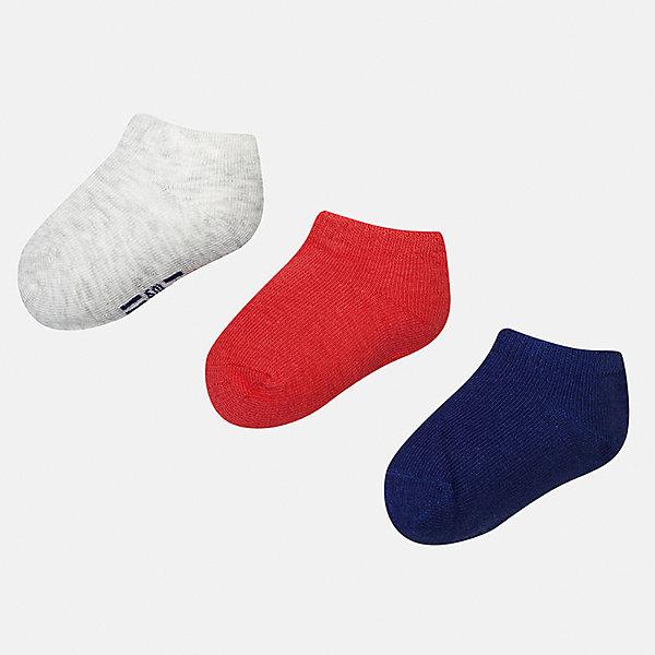 Носки (3 пары) для мальчика MayoralНоски<br>Характеристики товара:<br><br>• цвет: серый/красный/синий<br>• состав: 72% хлопок, 25% полиамид, 3% эластан<br>• комплектация: три пары<br>• мягкая резинка<br>• эластичный материал<br>• однотонные<br>• страна бренда: Испания<br><br>Удобные симпатичные носки для мальчика помогут обеспечить ребенку комфорт и дополнить наряд. Универсальный цвет позволяет надевать их под обувь разных расцветок. Носки удобно сидят на ноге и аккуратно смотрятся. Этот комплект - практичный и красивый! В составе материала - натуральный хлопок, гипоаллергенный, приятный на ощупь, дышащий. <br><br>Одежда, обувь и аксессуары от испанского бренда Mayoral полюбились детям и взрослым по всему миру. Модели этой марки - стильные и удобные. Для их производства используются только безопасные, качественные материалы и фурнитура. Порадуйте ребенка модными и красивыми вещами от Mayoral! <br><br>Носки (3 пары) для мальчика от испанского бренда Mayoral (Майорал) можно купить в нашем интернет-магазине.<br>Ширина мм: 87; Глубина мм: 10; Высота мм: 105; Вес г: 115; Цвет: разноцветный; Возраст от месяцев: 6; Возраст до месяцев: 12; Пол: Мужской; Возраст: Детский; Размер: 1,2; SKU: 5294241;