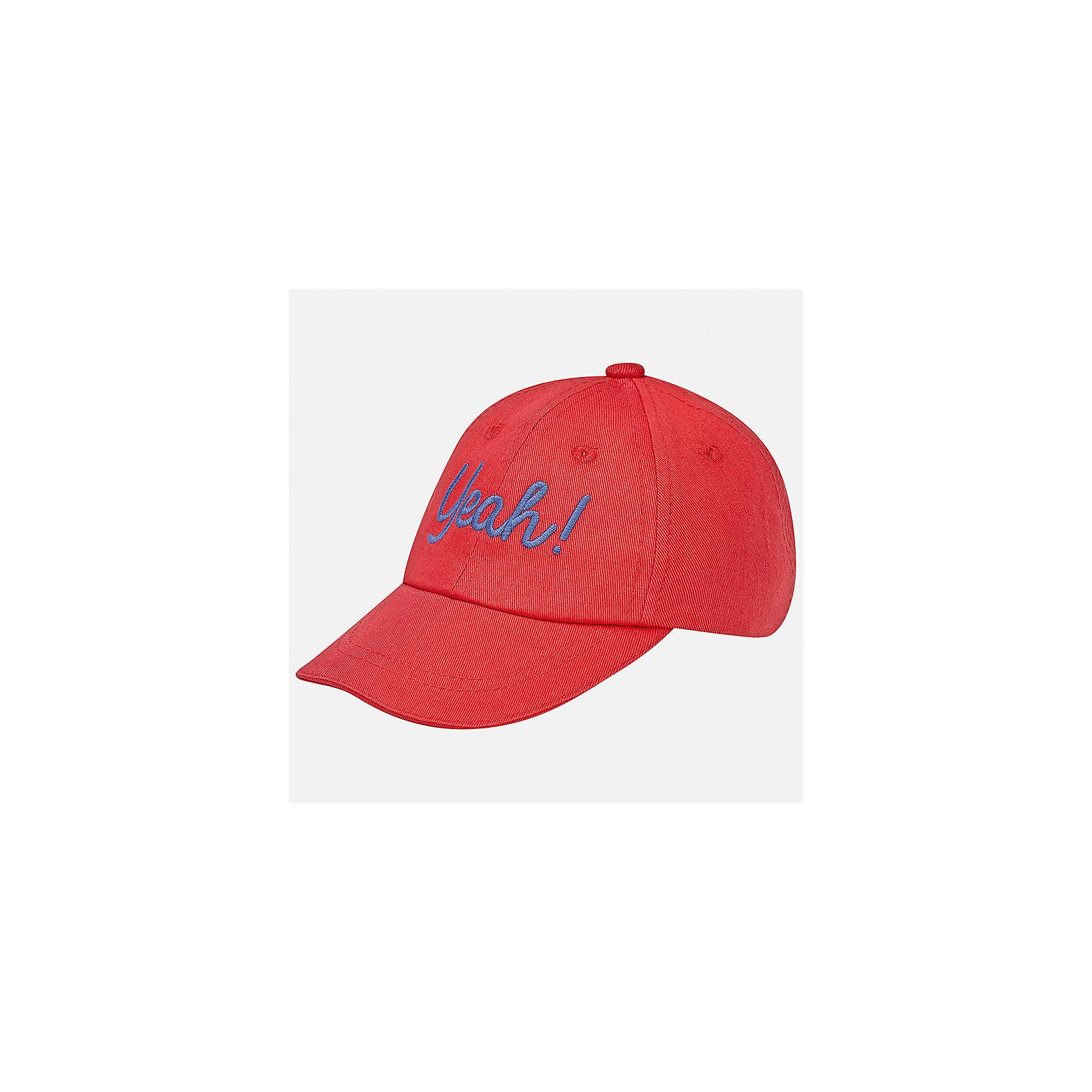 Кепка для мальчика MayoralХарактеристики товара:<br><br>• цвет: красный<br>• состав: 100% хлопок, подкладка - 80% полиэстер, 20% хлопок<br>• сзади - резинка<br>• отверстия для вентиляции<br>• декорирована вышивкой<br>• страна бренда: Испания<br><br>Красивая удобная кепка поможет обеспечить ребенку защиту от солнца и дополнить наряд. Универсальный цвет позволяет надевать её под одежду различных расцветок. Кепка удобно сидит и красиво смотрится. В составе материала - натуральный хлопок, гипоаллергенный, приятный на ощупь, дышащий. <br><br>Одежда, обувь и аксессуары от испанского бренда Mayoral полюбились детям и взрослым по всему миру. Модели этой марки - стильные и удобные. Для их производства используются только безопасные, качественные материалы и фурнитура. Порадуйте ребенка модными и красивыми вещами от Mayoral! <br><br>Кепку для мальчика от испанского бренда Mayoral (Майорал) можно купить в нашем интернет-магазине.<br><br>Ширина мм: 89<br>Глубина мм: 117<br>Высота мм: 44<br>Вес г: 155<br>Цвет: красный<br>Возраст от месяцев: 24<br>Возраст до месяцев: 36<br>Пол: Мужской<br>Возраст: Детский<br>Размер: 48,50<br>SKU: 5294256