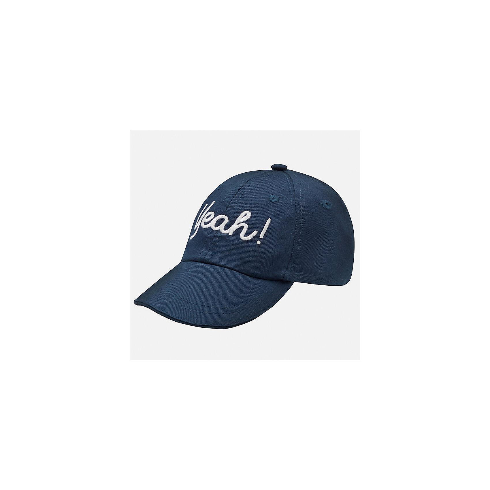 Кепка для мальчика MayoralЛетние<br>Характеристики товара:<br><br>• цвет: тёмно-синий<br>• состав: 100% хлопок, подкладка - 80% полиэстер, 20% хлопок<br>• сзади - резинка<br>• отверстия для вентиляции<br>• декорирована вышивкой<br>• страна бренда: Испания<br><br>Красивая удобная кепка поможет обеспечить ребенку защиту от солнца и дополнить наряд. Универсальный цвет позволяет надевать её под одежду различных расцветок. Кепка удобно сидит и красиво смотрится. В составе материала - натуральный хлопок, гипоаллергенный, приятный на ощупь, дышащий. <br><br>Одежда, обувь и аксессуары от испанского бренда Mayoral полюбились детям и взрослым по всему миру. Модели этой марки - стильные и удобные. Для их производства используются только безопасные, качественные материалы и фурнитура. Порадуйте ребенка модными и красивыми вещами от Mayoral! <br><br>Кепку для мальчика от испанского бренда Mayoral (Майорал) можно купить в нашем интернет-магазине.<br><br>Ширина мм: 89<br>Глубина мм: 117<br>Высота мм: 44<br>Вес г: 155<br>Цвет: синий<br>Возраст от месяцев: 12<br>Возраст до месяцев: 18<br>Пол: Мужской<br>Возраст: Детский<br>Размер: 48,50<br>SKU: 5294259