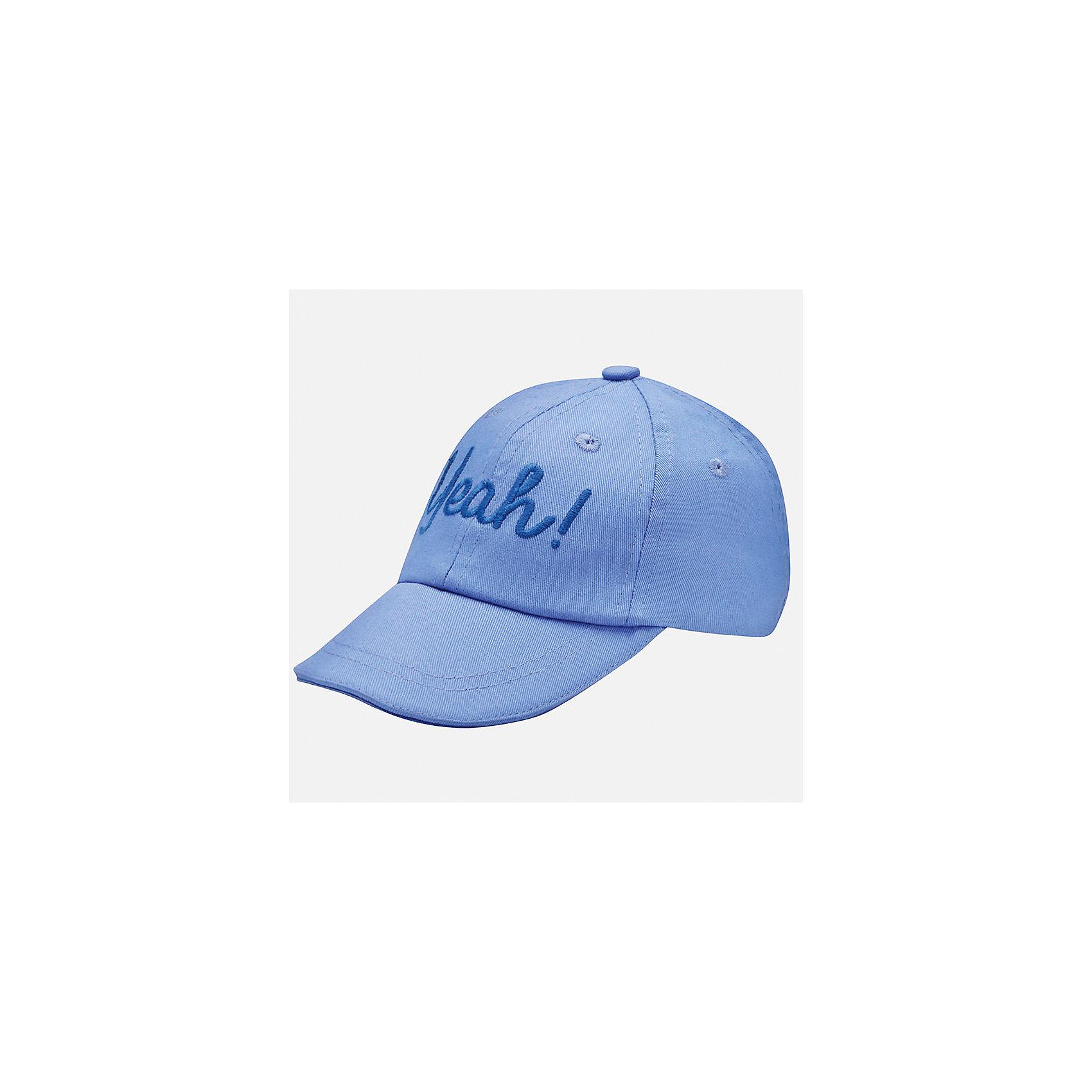 Кепка для мальчика MayoralЛетние<br>Характеристики товара:<br><br>• цвет: голубой<br>• состав: 100% хлопок, подкладка - 80% полиэстер, 20% хлопок<br>• сзади - резинка<br>• отверстия для вентиляции<br>• декорирована вышивкой<br>• страна бренда: Испания<br><br>Красивая удобная кепка поможет обеспечить ребенку защиту от солнца и дополнить наряд. Универсальный цвет позволяет надевать её под одежду различных расцветок. Кепка удобно сидит и красиво смотрится. В составе материала - натуральный хлопок, гипоаллергенный, приятный на ощупь, дышащий. <br><br>Одежда, обувь и аксессуары от испанского бренда Mayoral полюбились детям и взрослым по всему миру. Модели этой марки - стильные и удобные. Для их производства используются только безопасные, качественные материалы и фурнитура. Порадуйте ребенка модными и красивыми вещами от Mayoral! <br><br>Кепку для мальчика от испанского бренда Mayoral (Майорал) можно купить в нашем интернет-магазине.<br><br>Ширина мм: 89<br>Глубина мм: 117<br>Высота мм: 44<br>Вес г: 155<br>Цвет: белый<br>Возраст от месяцев: 12<br>Возраст до месяцев: 18<br>Пол: Мужской<br>Возраст: Детский<br>Размер: 48,50<br>SKU: 5294262