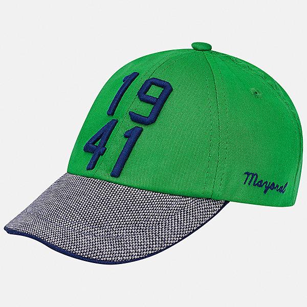 Козырек для мальчика MayoralЛетние<br>Характеристики товара:<br><br>• цвет: зелёный<br>• состав: 100% хлопок, подкладка - 80% полиэстер, 20% хлопок<br>• сзади - резинка<br>• отверстия для вентиляции<br>• декорирована вышивкой<br>• страна бренда: Испания<br><br>Красивая удобная кепка поможет обеспечить ребенку защиту от солнца и дополнить наряд. Универсальный цвет позволяет надевать её под одежду различных расцветок. Кепка удобно сидит и красиво смотрится. В составе материала - натуральный хлопок, гипоаллергенный, приятный на ощупь, дышащий. <br><br>Одежда, обувь и аксессуары от испанского бренда Mayoral полюбились детям и взрослым по всему миру. Модели этой марки - стильные и удобные. Для их производства используются только безопасные, качественные материалы и фурнитура. Порадуйте ребенка модными и красивыми вещами от Mayoral! <br><br>Кепку для мальчика от испанского бренда Mayoral (Майорал) можно купить в нашем интернет-магазине.<br><br>Ширина мм: 89<br>Глубина мм: 117<br>Высота мм: 44<br>Вес г: 155<br>Цвет: зеленый<br>Возраст от месяцев: 12<br>Возраст до месяцев: 18<br>Пол: Мужской<br>Возраст: Детский<br>Размер: 48,50<br>SKU: 5294277