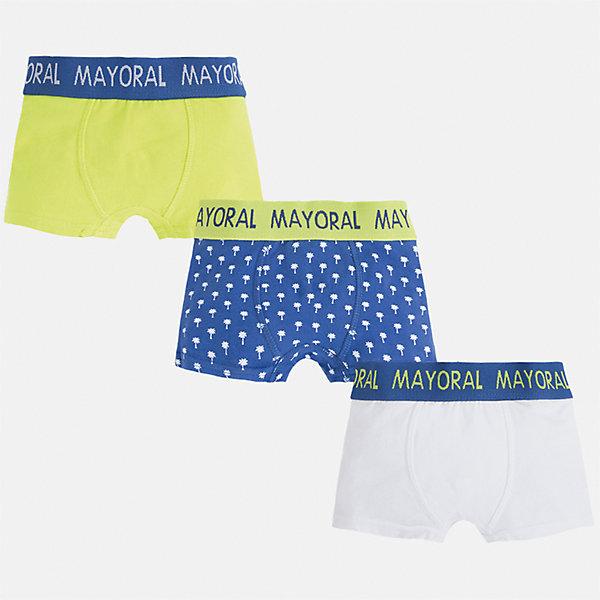 Трусы (3 пары) для мальчика MayoralНижнее бельё<br>Характеристики товара:<br><br>• цвет: зеленый/синий/белый<br>• состав: 95% хлопок, 5% эластан<br>• комплектация: 3 шт<br>• мягкая резинка<br>• эластичный материал<br>• комбинированный материал<br>• страна бренда: Испания<br><br>Удобные симпатичные трусы для мальчика помогут обеспечить ребенку комфорт. Трусы удобно сидят на теле и аккуратно смотрятся. Этот комплект - практичный и красивый! В составе материала - натуральный хлопок, гипоаллергенный, приятный на ощупь, дышащий. На поясе - мягкая широкая резинка, которая не давит на живот и не натирает.<br><br>Одежда, обувь и аксессуары от испанского бренда Mayoral полюбились детям и взрослым по всему миру. Модели этой марки - стильные и удобные. Для их производства используются только безопасные, качественные материалы и фурнитура. Порадуйте ребенка модными и красивыми вещами от Mayoral! <br><br>Трусы (3 пары) для мальчика от испанского бренда Mayoral (Майорал) можно купить в нашем интернет-магазине.<br><br>Ширина мм: 196<br>Глубина мм: 10<br>Высота мм: 154<br>Вес г: 152<br>Цвет: зеленый<br>Возраст от месяцев: 132<br>Возраст до месяцев: 144<br>Пол: Мужской<br>Возраст: Детский<br>Размер: 158,92,164,152,140,128,116,104<br>SKU: 5294316