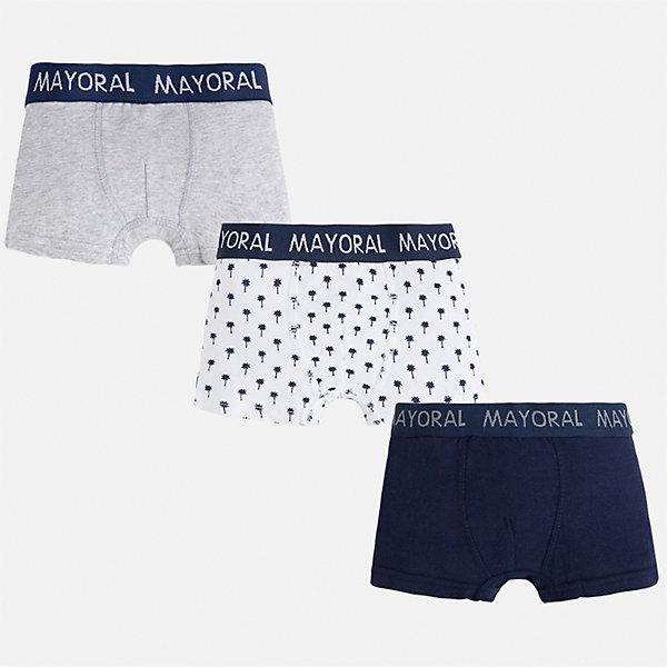 Трусы (3 пары) для мальчика MayoralНижнее бельё<br>Характеристики товара:<br><br>• цвет: серый/белый/синий<br>• состав: 95% хлопок, 5% эластан<br>• комплектация: 3 шт<br>• мягкая резинка<br>• эластичный материал<br>• комбинированный материал<br>• страна бренда: Испания<br><br>Удобные симпатичные трусы для мальчика помогут обеспечить ребенку комфорт. Трусы удобно сидят на теле и аккуратно смотрятся. Этот комплект - практичный и красивый! В составе материала - натуральный хлопок, гипоаллергенный, приятный на ощупь, дышащий. На поясе - мягкая широкая резинка, которая не давит на живот и не натирает.<br><br>Одежда, обувь и аксессуары от испанского бренда Mayoral полюбились детям и взрослым по всему миру. Модели этой марки - стильные и удобные. Для их производства используются только безопасные, качественные материалы и фурнитура. Порадуйте ребенка модными и красивыми вещами от Mayoral! <br><br>Трусы (3 пары) для мальчика от испанского бренда Mayoral (Майорал) можно купить в нашем интернет-магазине.<br><br>Ширина мм: 196<br>Глубина мм: 10<br>Высота мм: 154<br>Вес г: 152<br>Цвет: синий<br>Возраст от месяцев: 132<br>Возраст до месяцев: 144<br>Пол: Мужской<br>Возраст: Детский<br>Размер: 158,92,164,152,140,128,116,104<br>SKU: 5294343