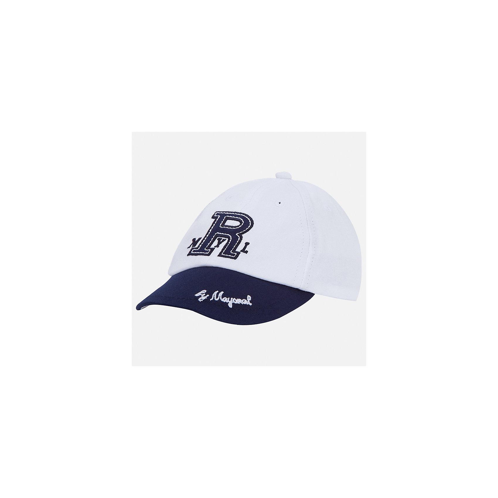 Козырек для мальчика MayoralХарактеристики товара:<br><br>• цвет: белый/синий<br>• состав: 100% хлопок, подкладка - 80% полиэстер, 20% хлопок<br>• сзади - регулятор размера<br>• отверстия для вентиляции<br>• декорирована вышивкой<br>• страна бренда: Испания<br><br>Красивая удобная кепка поможет обеспечить ребенку защиту от солнца и дополнить наряд. Универсальный цвет позволяет надевать её под одежду различных расцветок. Кепка удобно сидит и красиво смотрится. В составе материала - натуральный хлопок, гипоаллергенный, приятный на ощупь, дышащий. <br><br>Одежда, обувь и аксессуары от испанского бренда Mayoral полюбились детям и взрослым по всему миру. Модели этой марки - стильные и удобные. Для их производства используются только безопасные, качественные материалы и фурнитура. Порадуйте ребенка модными и красивыми вещами от Mayoral! <br><br>Кепку для мальчика от испанского бренда Mayoral (Майорал) можно купить в нашем интернет-магазине.<br><br>Ширина мм: 89<br>Глубина мм: 117<br>Высота мм: 44<br>Вес г: 155<br>Цвет: белый<br>Возраст от месяцев: 72<br>Возраст до месяцев: 84<br>Пол: Мужской<br>Возраст: Детский<br>Размер: 54,50,52<br>SKU: 5294405